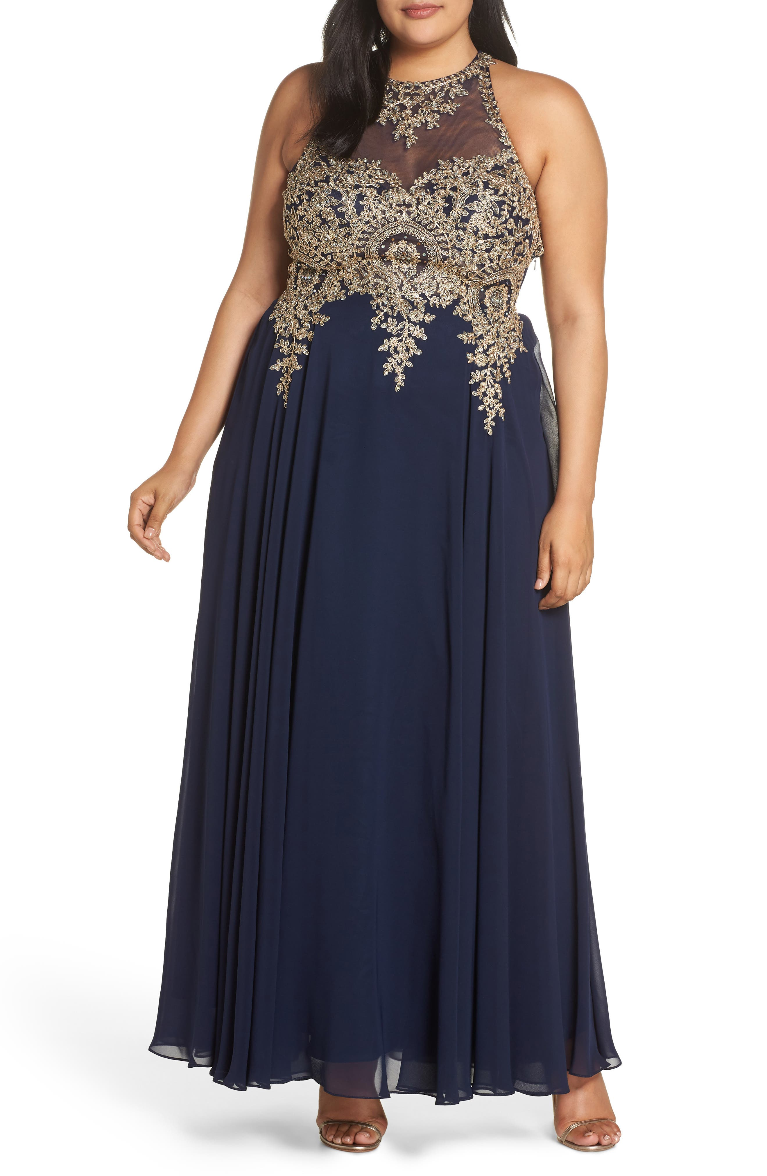 XSCAPE, Metallic Embroidered Gown, Alternate thumbnail 6, color, NAVY/ GOLD