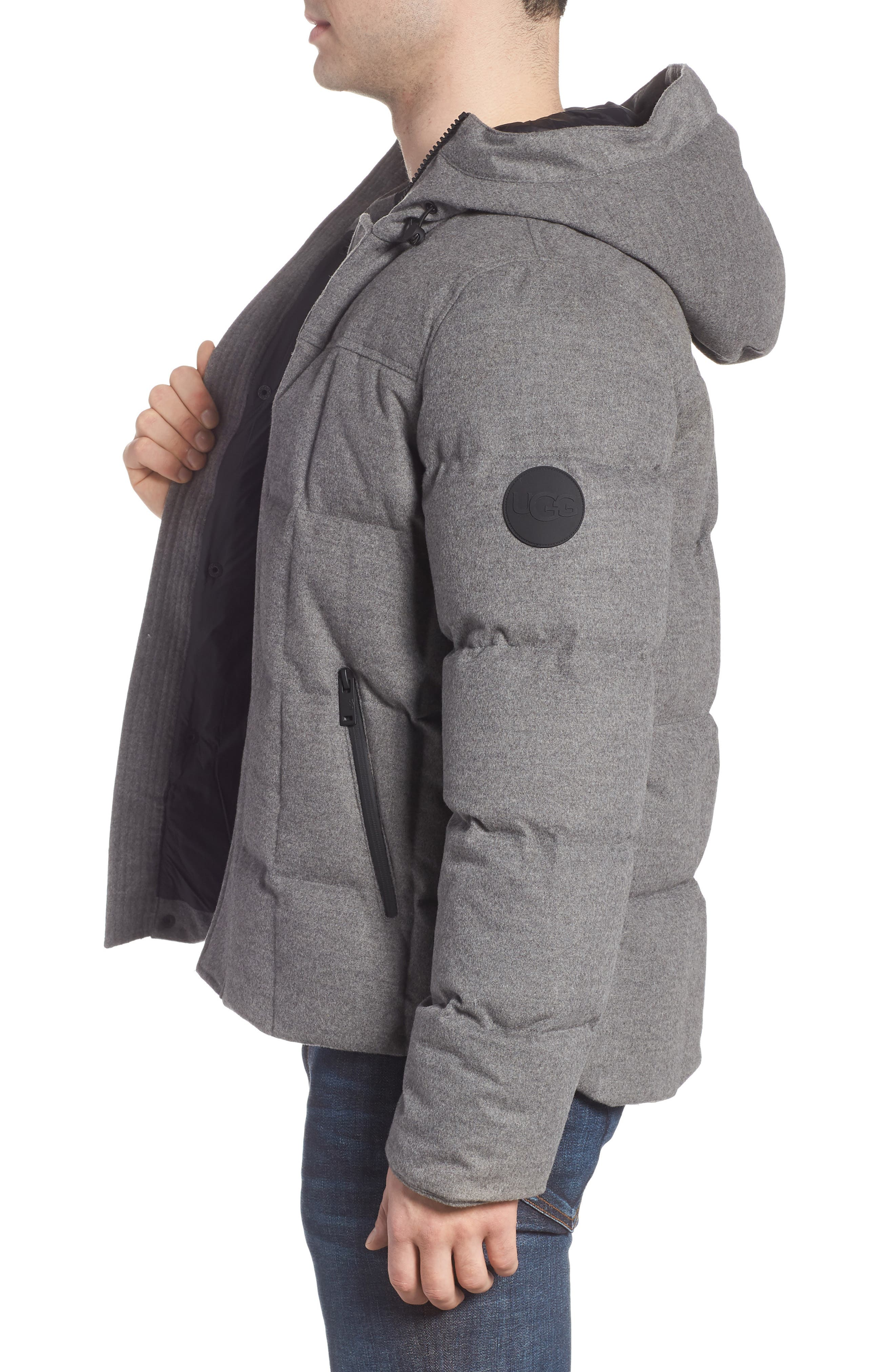 UGG<SUP>®</SUP>, Cadin Technical Water Resistant Down Parka, Alternate thumbnail 4, color, MEDIUM HEATHER GREY