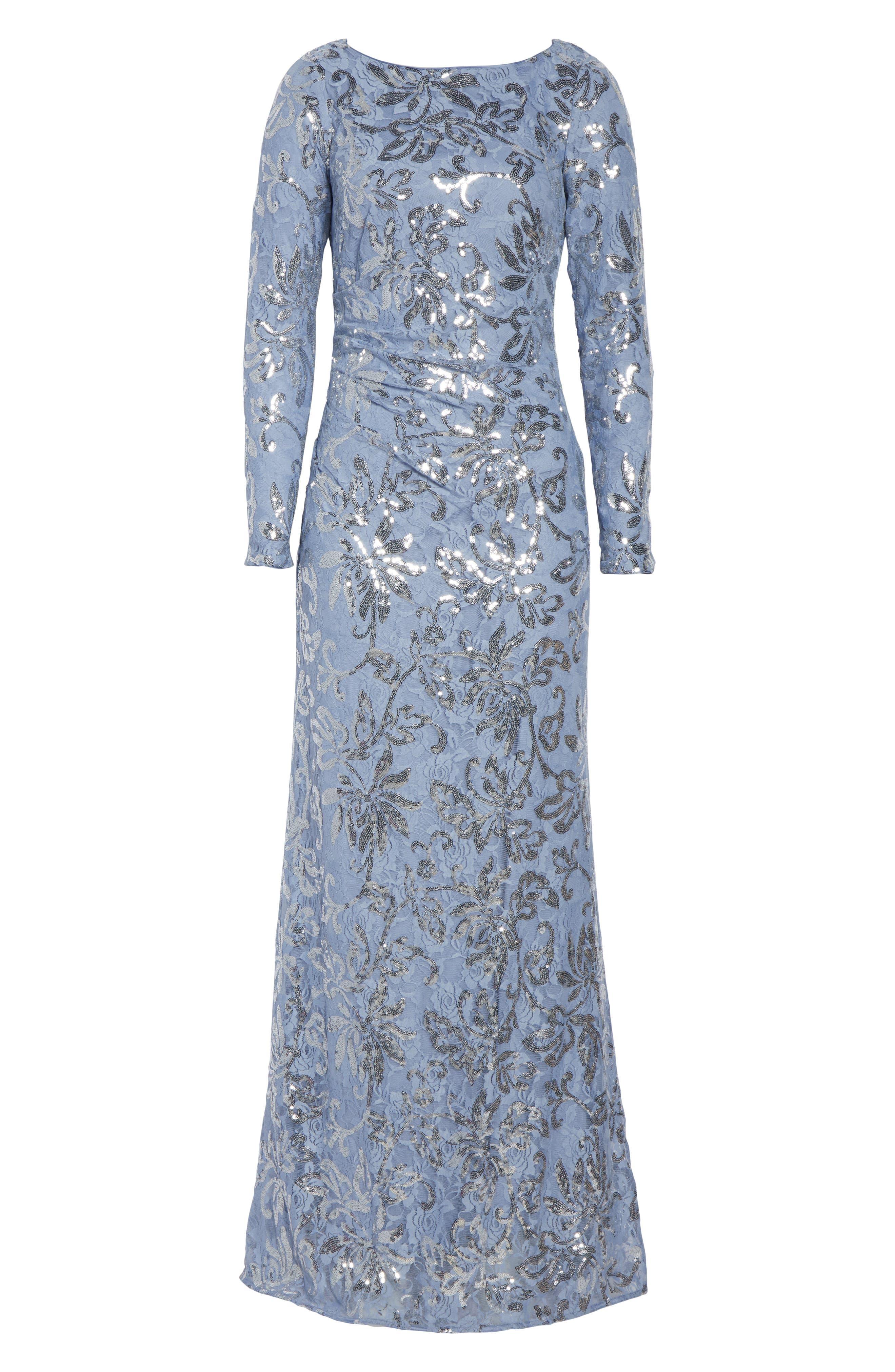 VINCE CAMUTO, Lace & Sequin Evening Dress, Alternate thumbnail 8, color, SKY BLUE