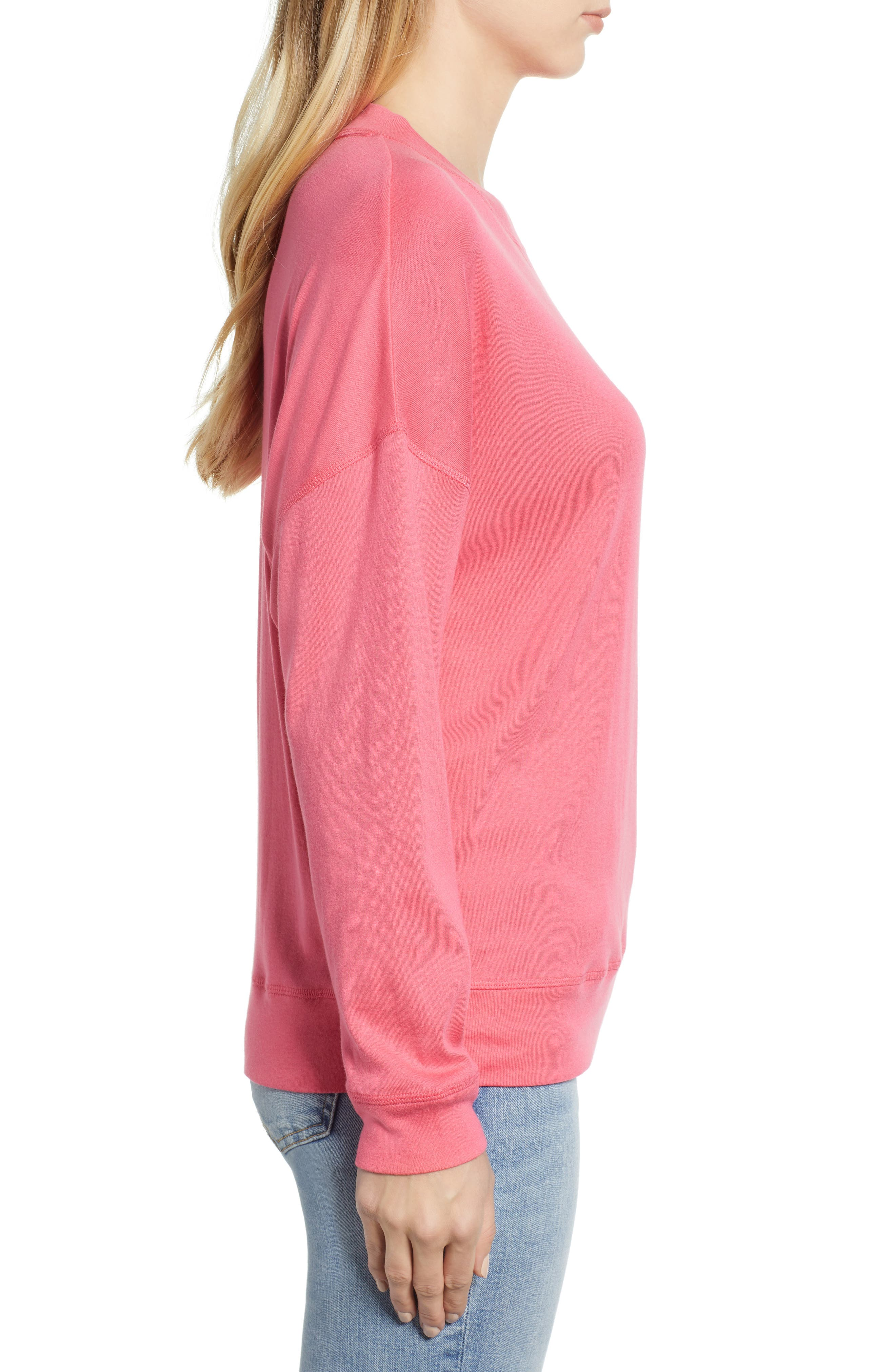 CASLON<SUP>®</SUP>, Sweatshirt, Alternate thumbnail 3, color, PINK HONEY