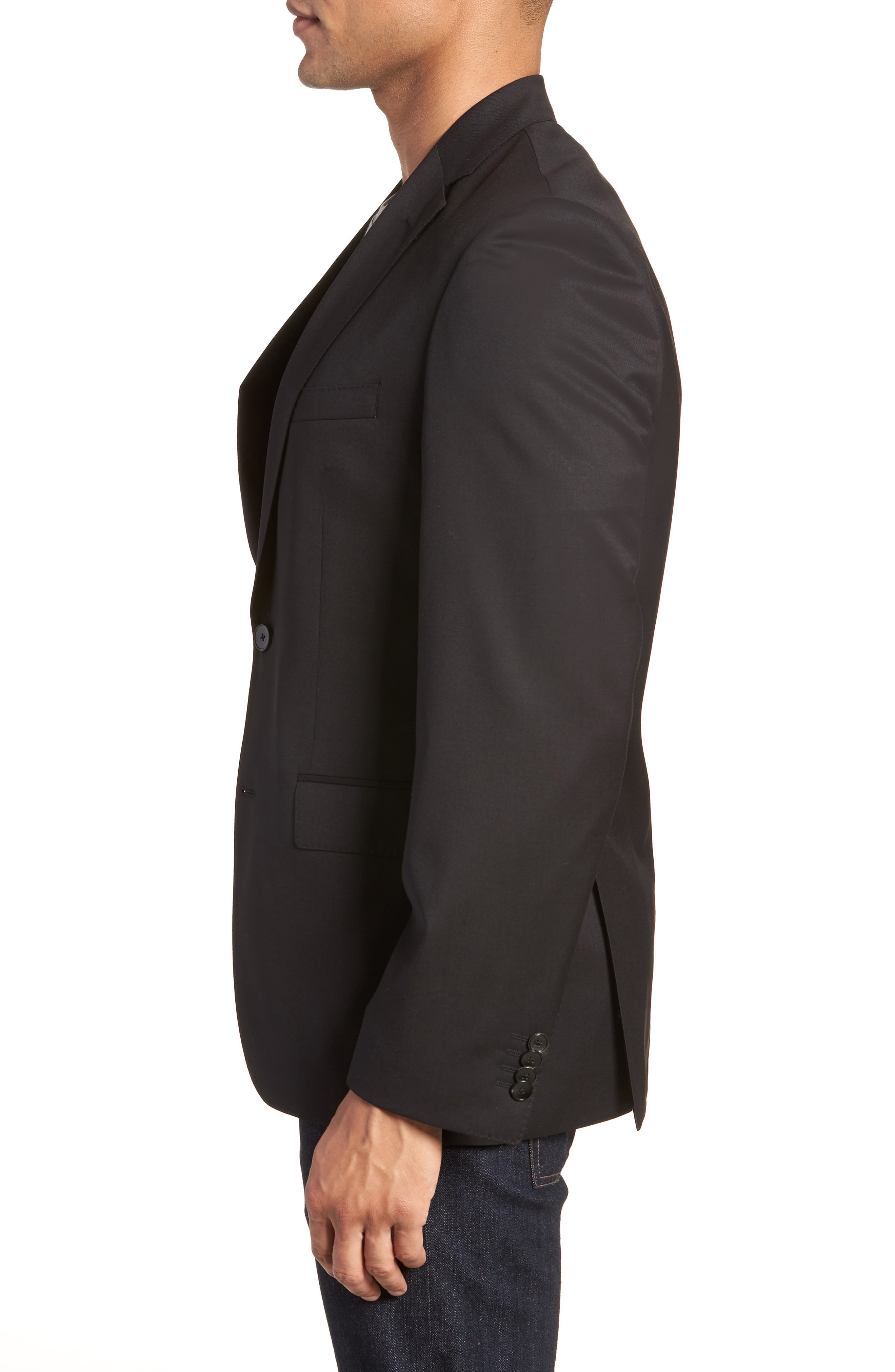 BOSS, Johnstons CYL Classic Fit Solid Wool Sport Coat, Alternate thumbnail 4, color, BLACK