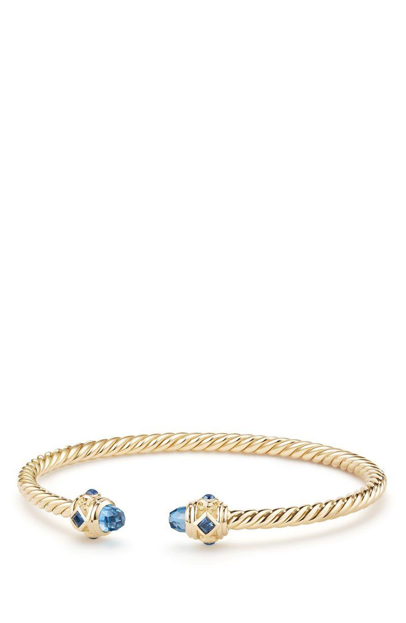 DAVID YURMAN, Renaissance Bracelet in 18K Gold, 3.5mm, Main thumbnail 1, color, GOLD/ HAMPTON BLUE TOPAZ