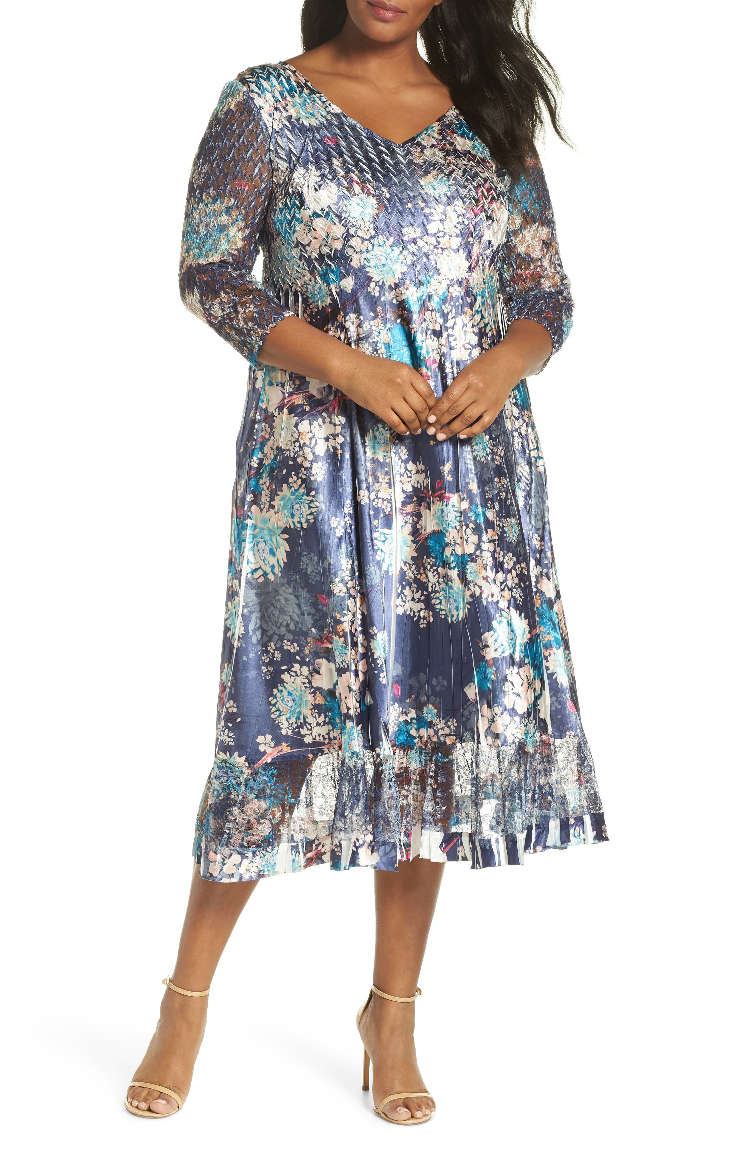 KOMAROV Print Charmeuse & Chiffon A-Line Dress, Main, color, CELESTIAL MEADOW
