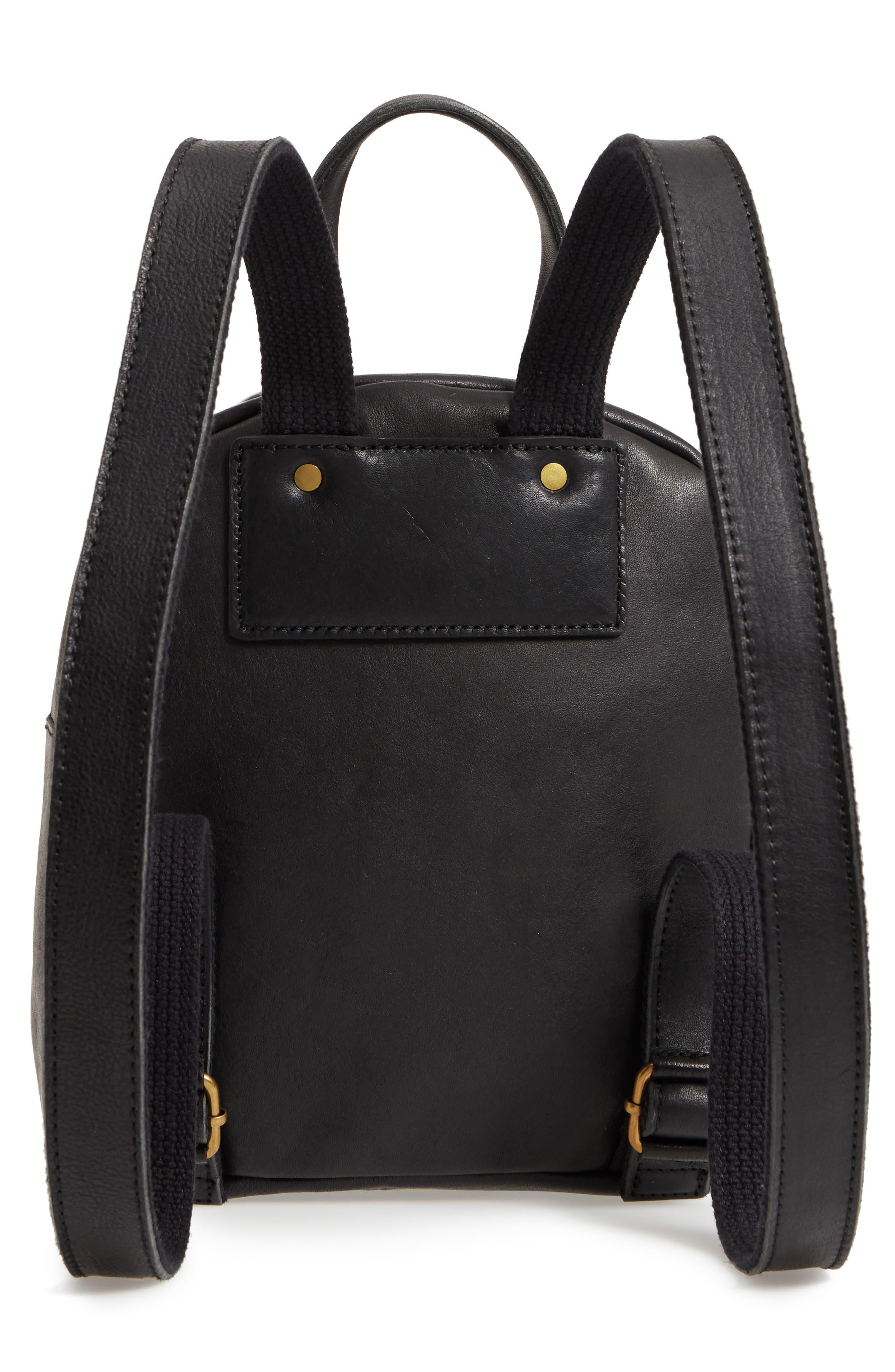 MADEWELL, Mini Lorimer Leather Backpack, Alternate thumbnail 4, color, TRUE BLACK