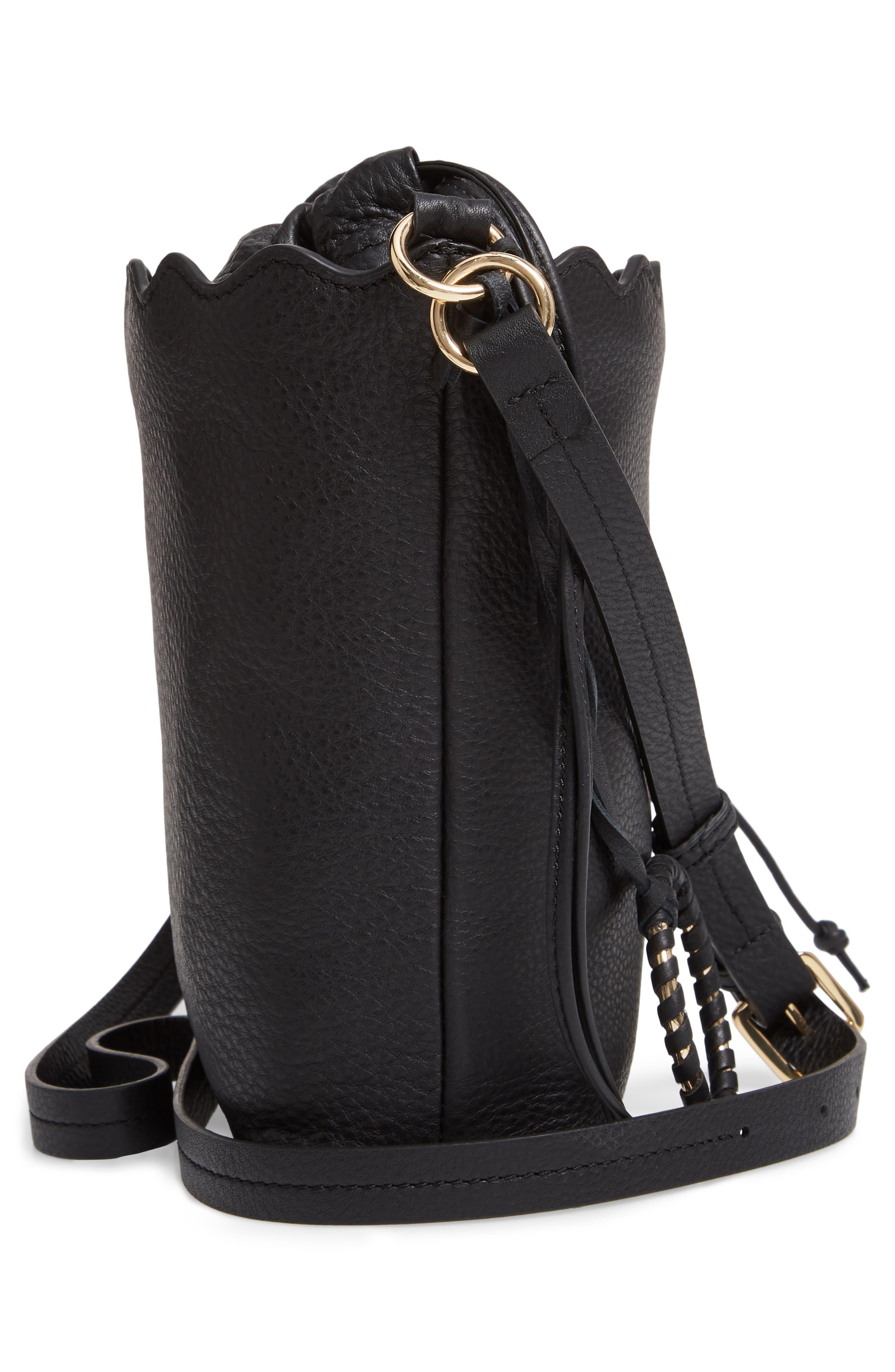 VINCE CAMUTO, Wavy Leather Bucket Bag, Alternate thumbnail 6, color, BLACK