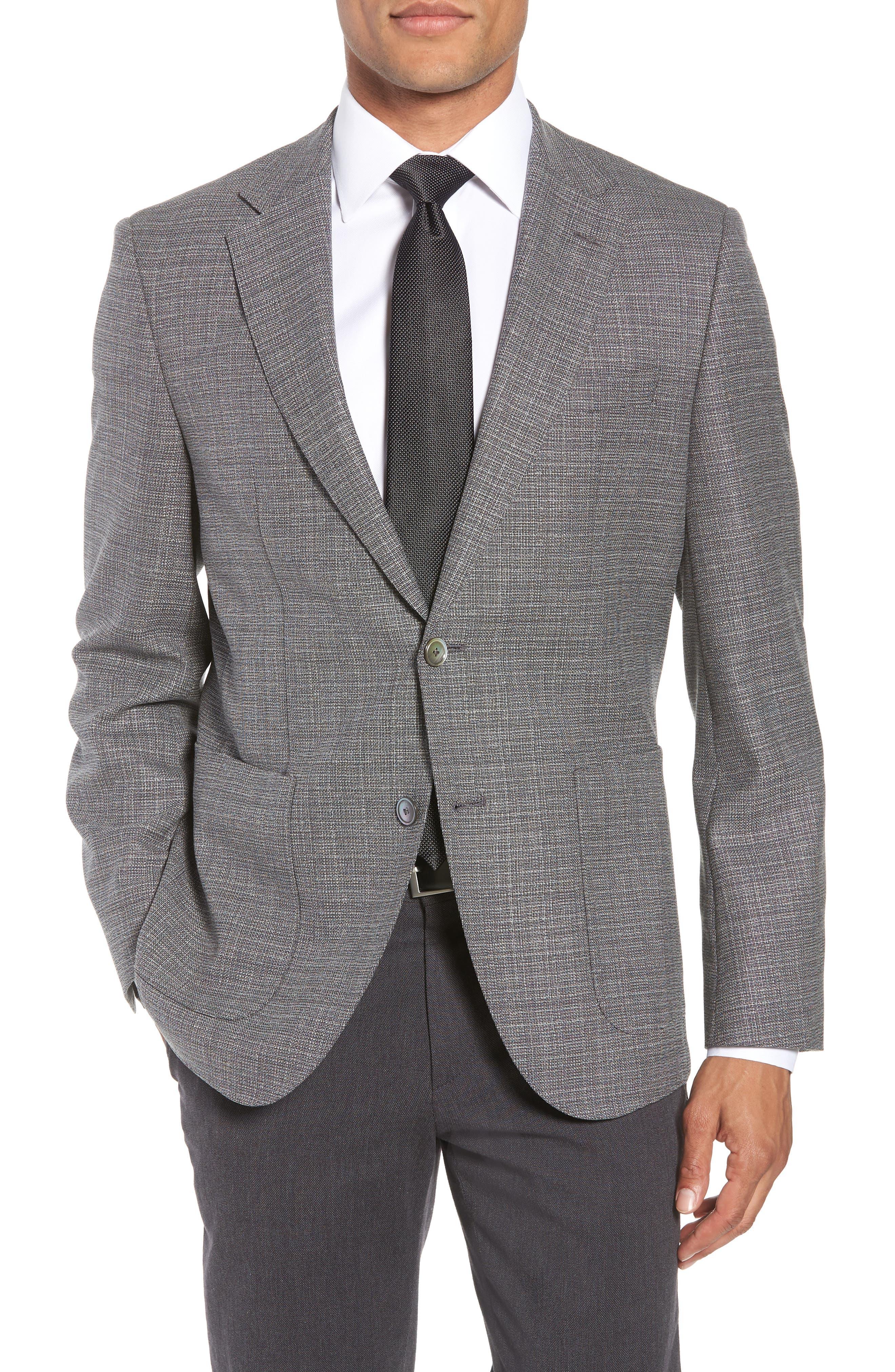 BOSS, Janson Classic Fit Wool Blazer, Main thumbnail 1, color, GREY