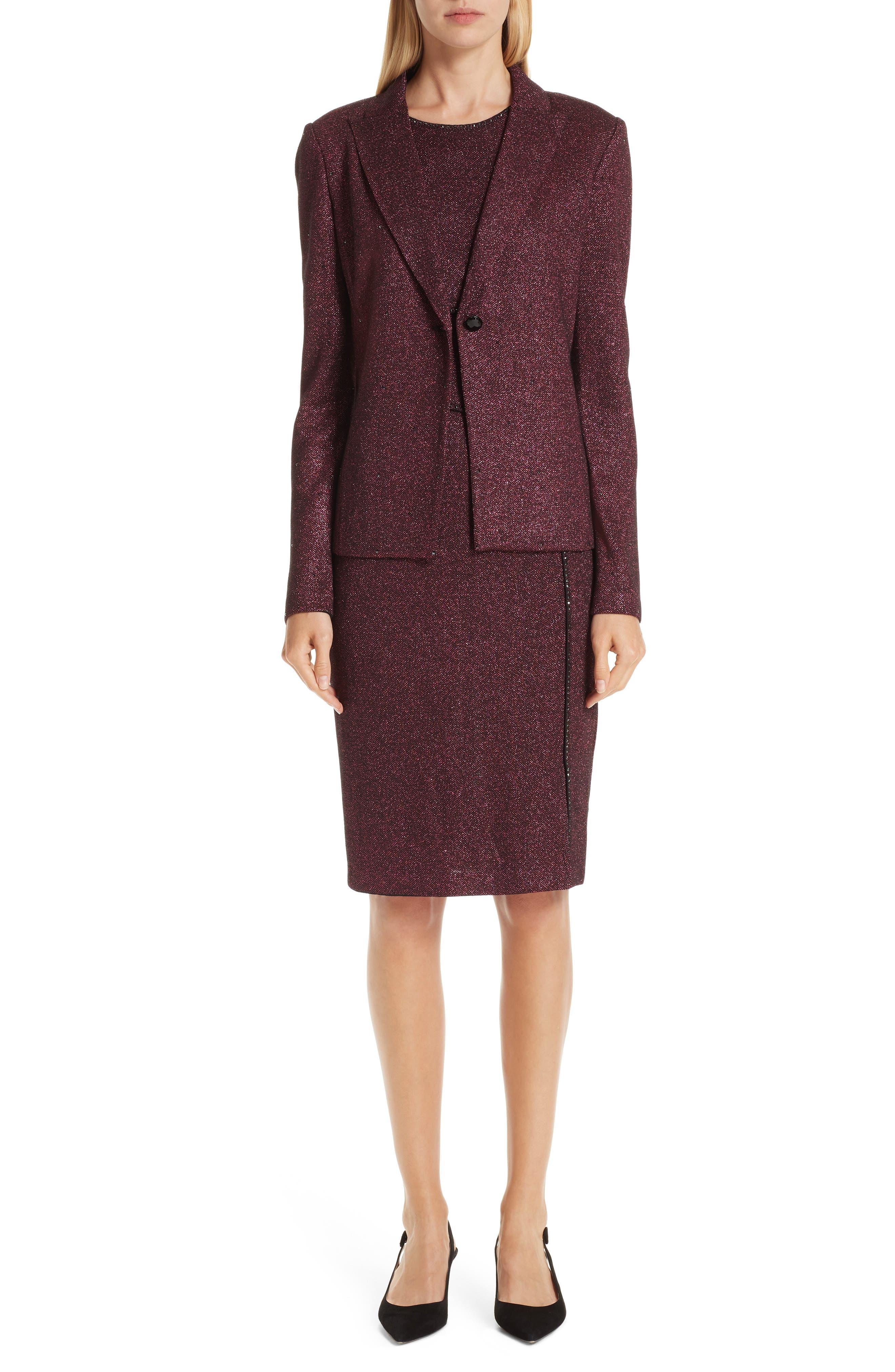 ST. JOHN COLLECTION, Mod Metallic Knit Sheath Dress, Alternate thumbnail 8, color, DARK PINK MULTI