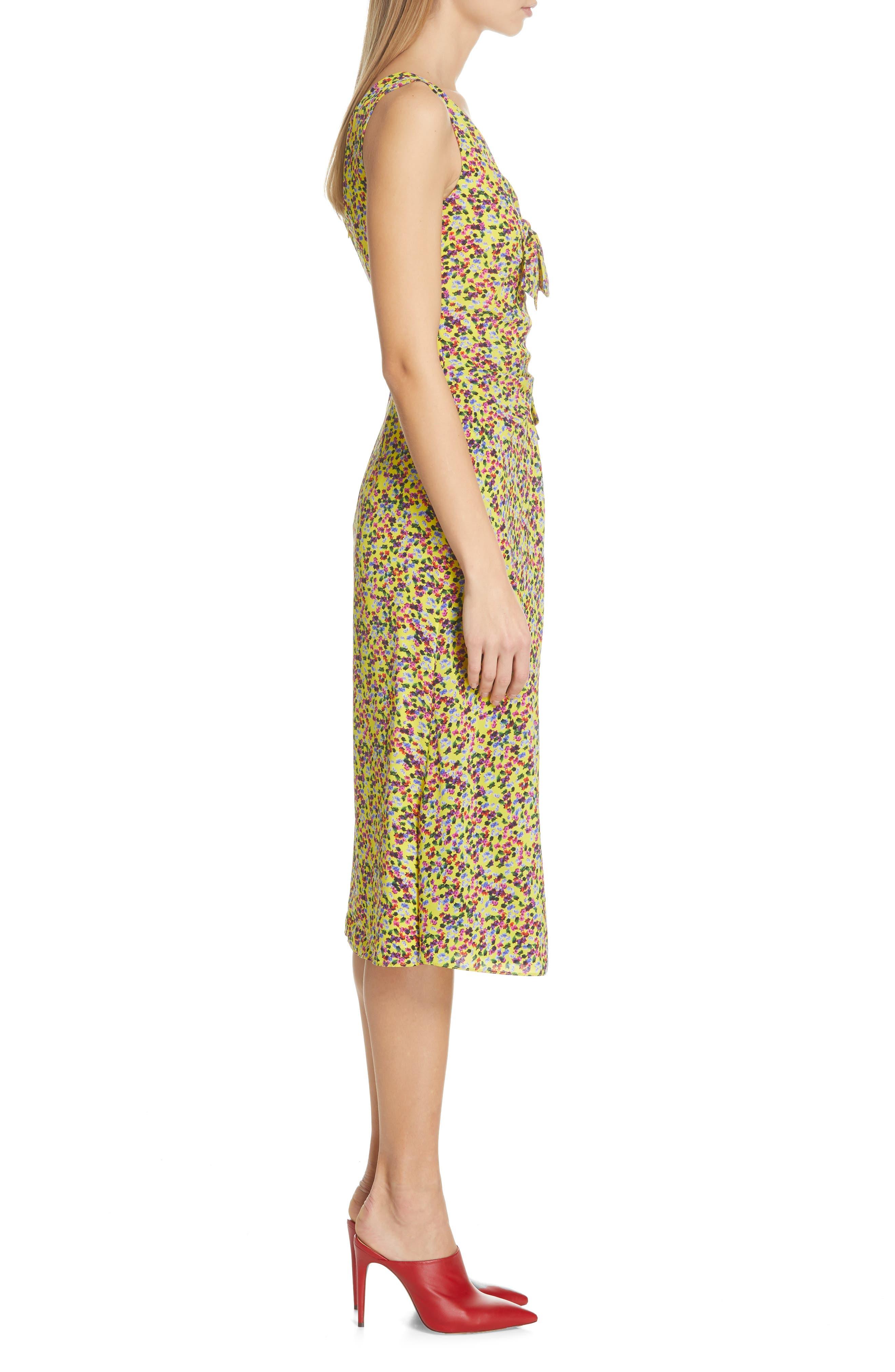 SALONI, Penelope Floral Print Silk Midi Dress, Alternate thumbnail 3, color, YELLOW GARDENIA