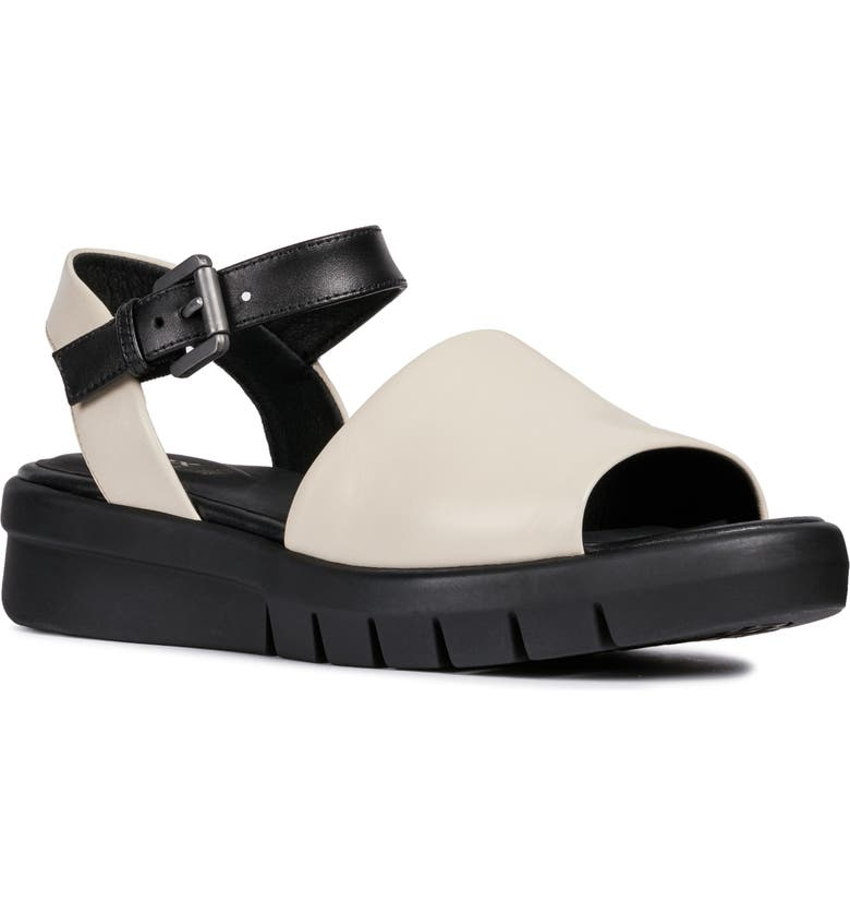 109d03d6950 Geox Wimbley Platform Sandal In Cream  Black Faux Leather ...