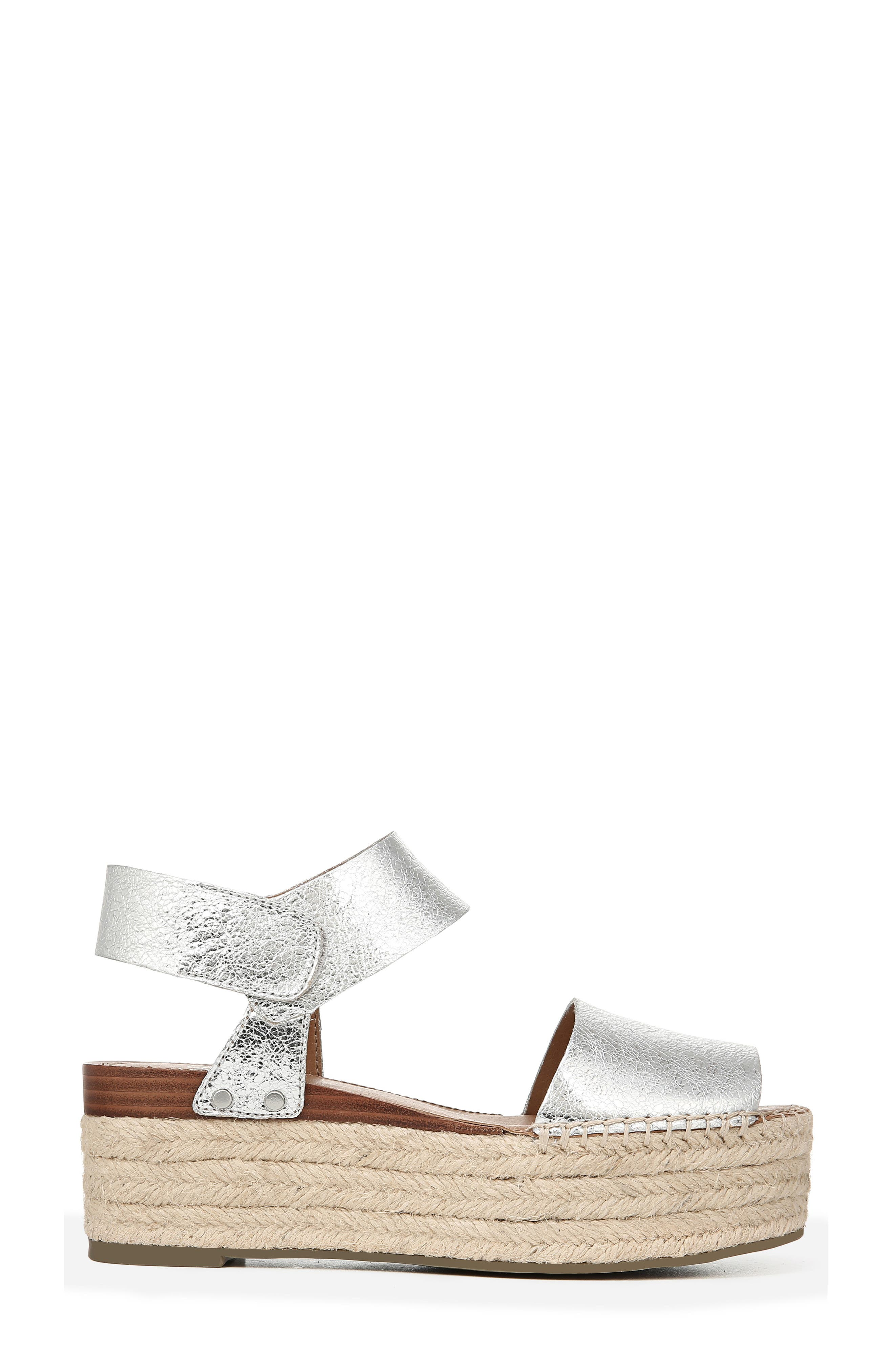 SARTO BY FRANCO SARTO, Leo Platform Espadrille Sandal, Alternate thumbnail 3, color, SILVER LEATHER