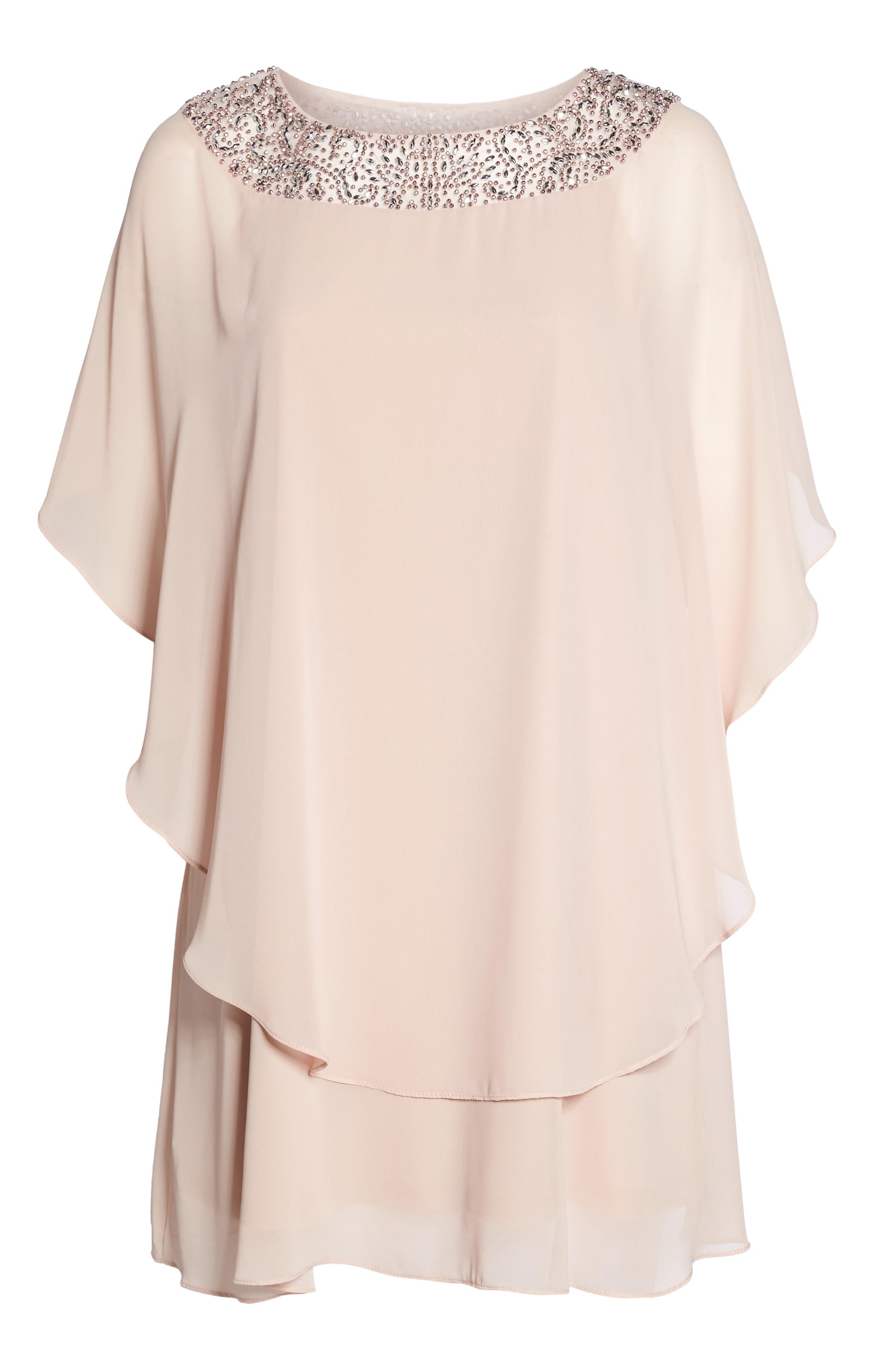 XSCAPE, Beaded Neck Chiffon Overlay Dress, Alternate thumbnail 7, color, BLUSH/ SILVER
