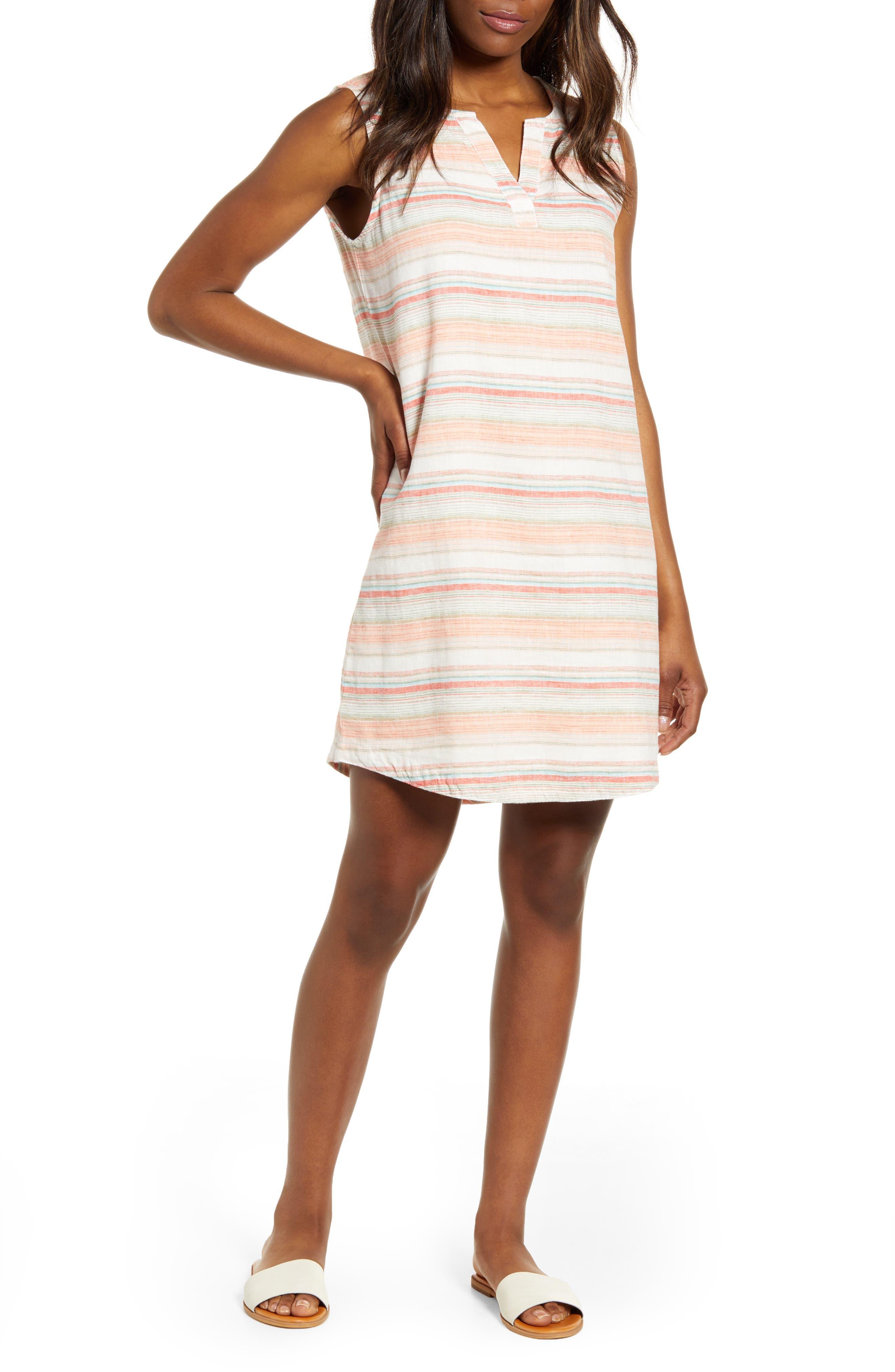 Beachlunchlounge Jaylene Stripe Sleeveless Linen & Cotton Shift Dress, Orange