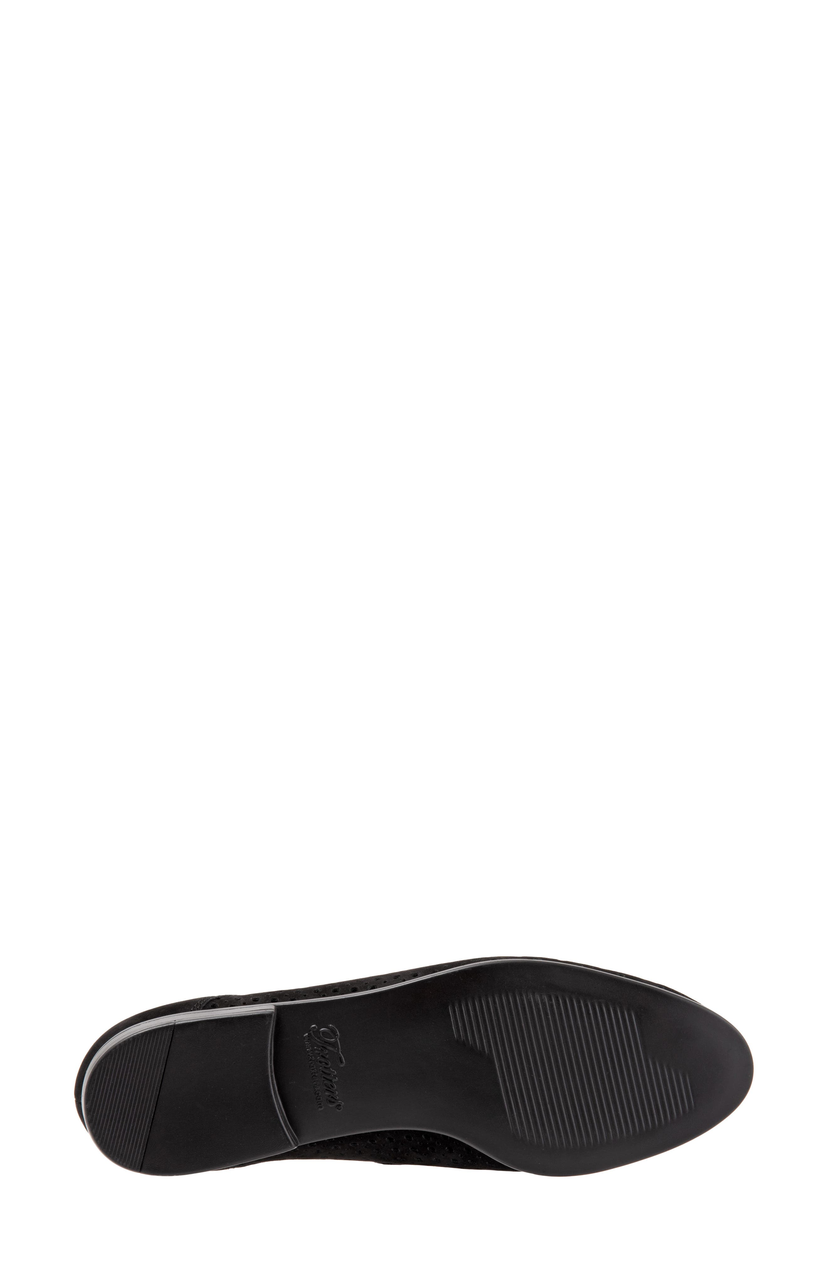 TROTTERS, Lizzie Derby Flat, Alternate thumbnail 6, color, BLACK/ BLACK LEATHER