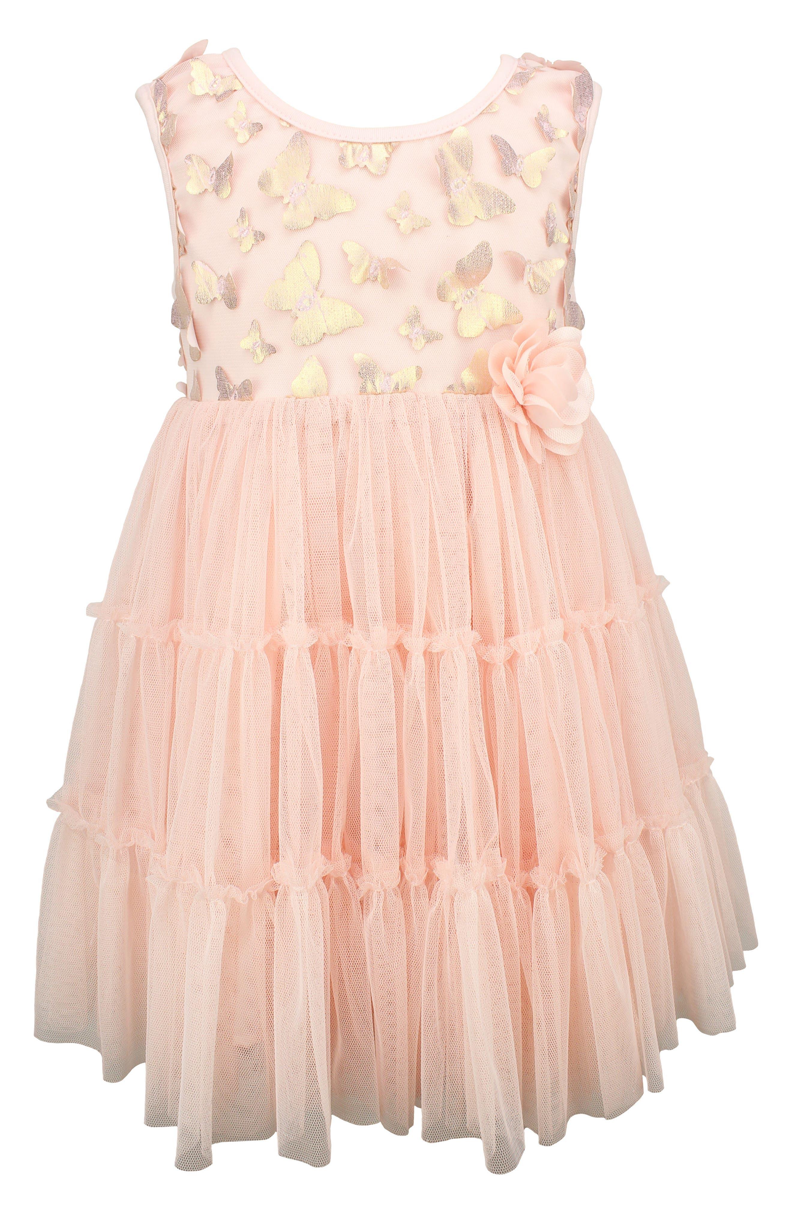 POPATU Metallic Butterfly Tulle Dress, Main, color, DUSTY PINK
