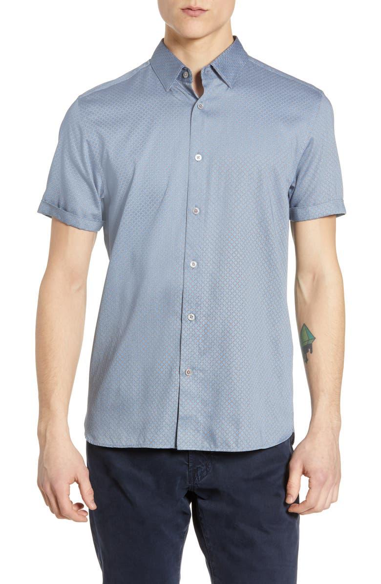 0f912f03cf27 Ted Baker Geo Print Slim Fit Sport Shirt In Blue