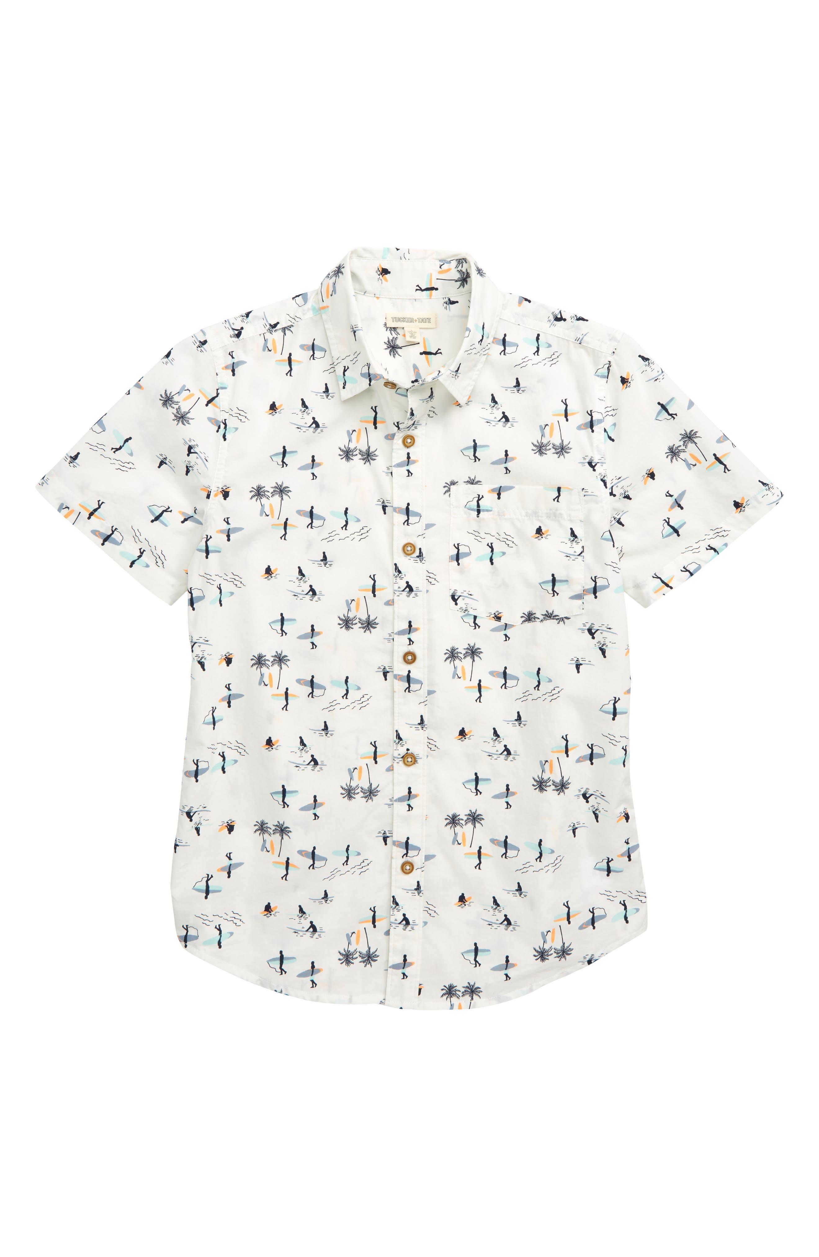 Boys Tucker  Tate Print Poplin Woven Shirt Size XL (1416)  White