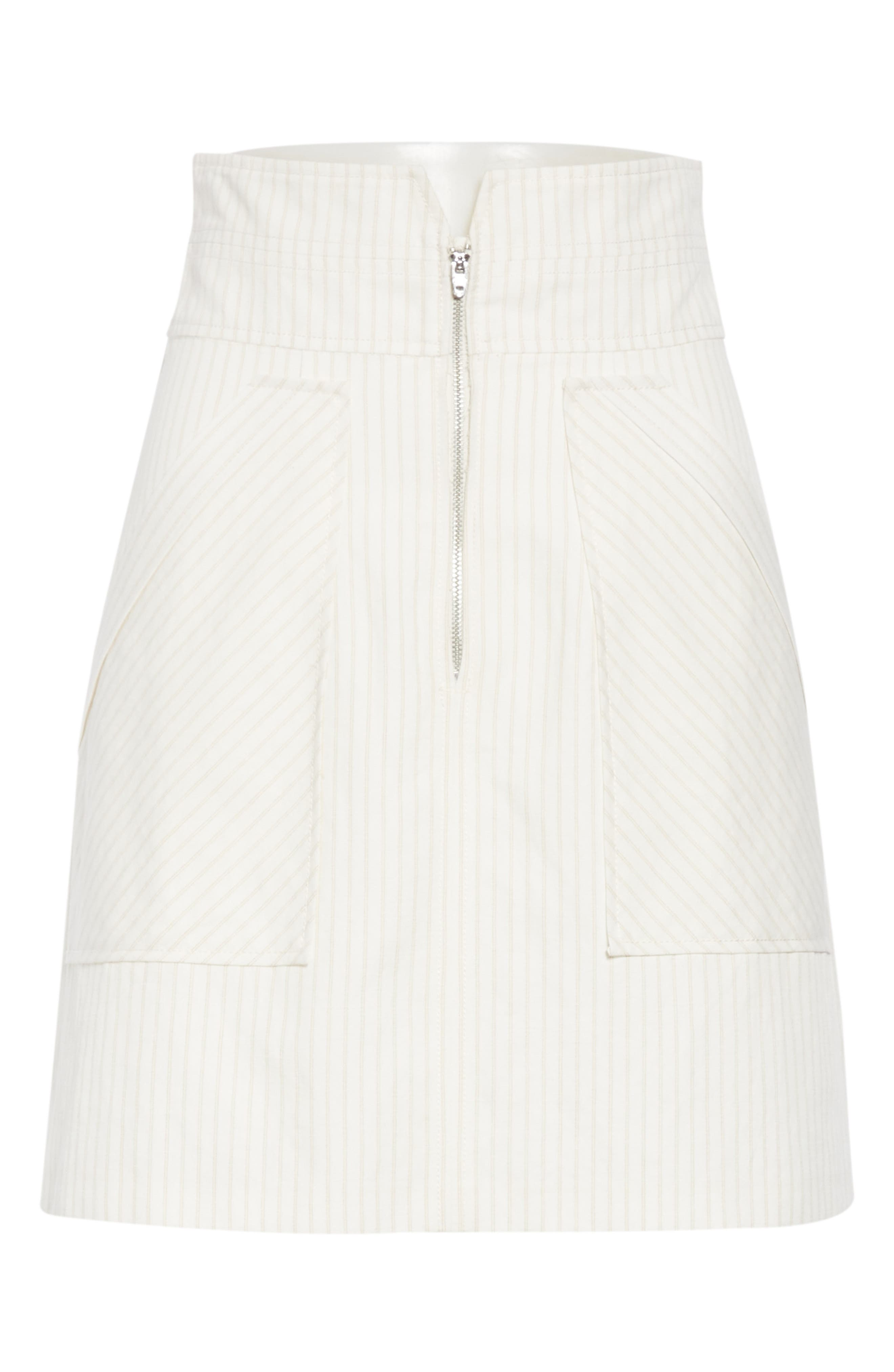 REBECCA TAYLOR, Zip Front Pinstripe Cotton & Linen Skirt, Alternate thumbnail 6, color, SNOW COMBO