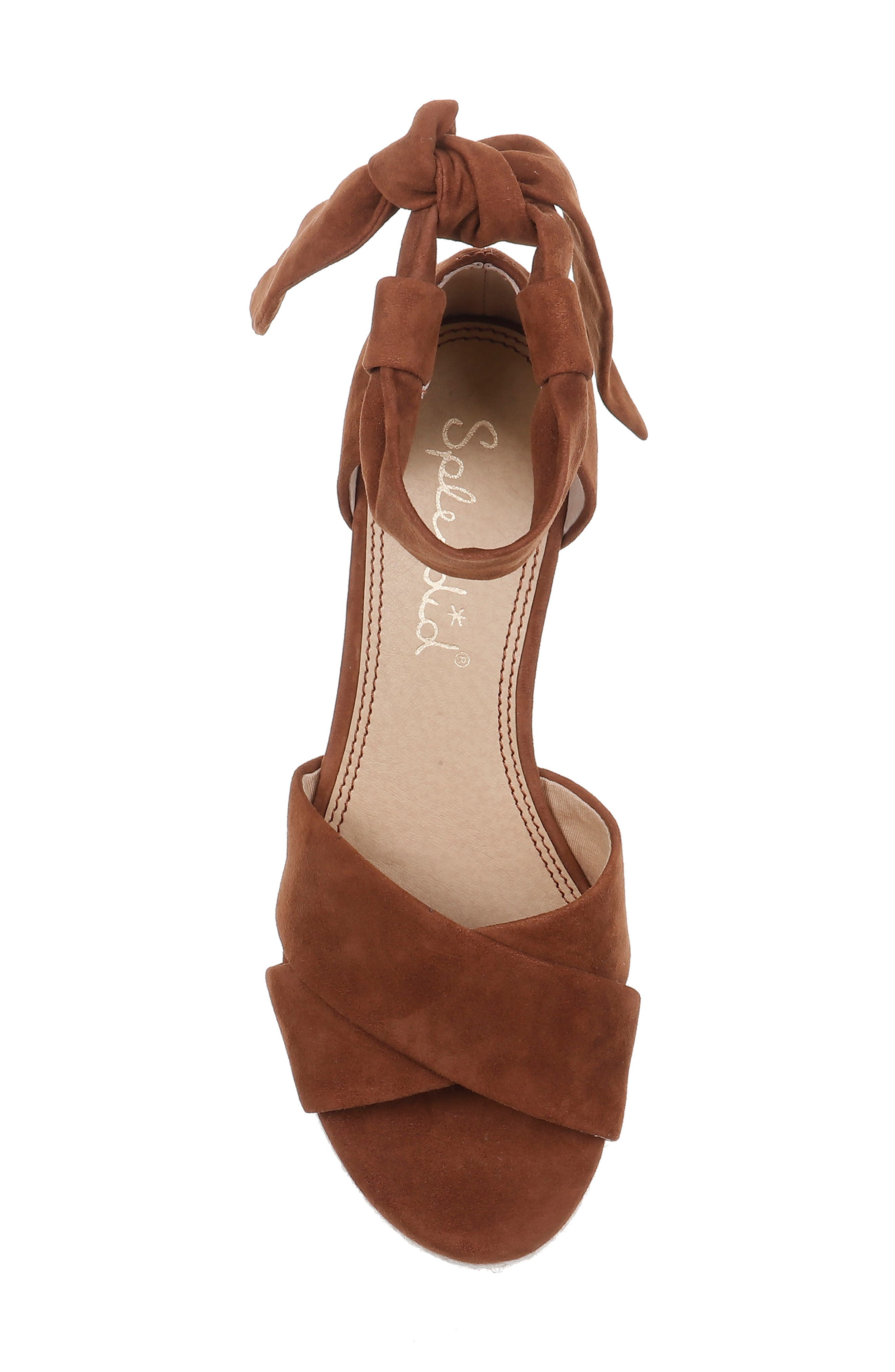 SPLENDID, Terrence Ankle Wrap Wedge Sandal, Alternate thumbnail 5, color, CHESTNUT SUEDE