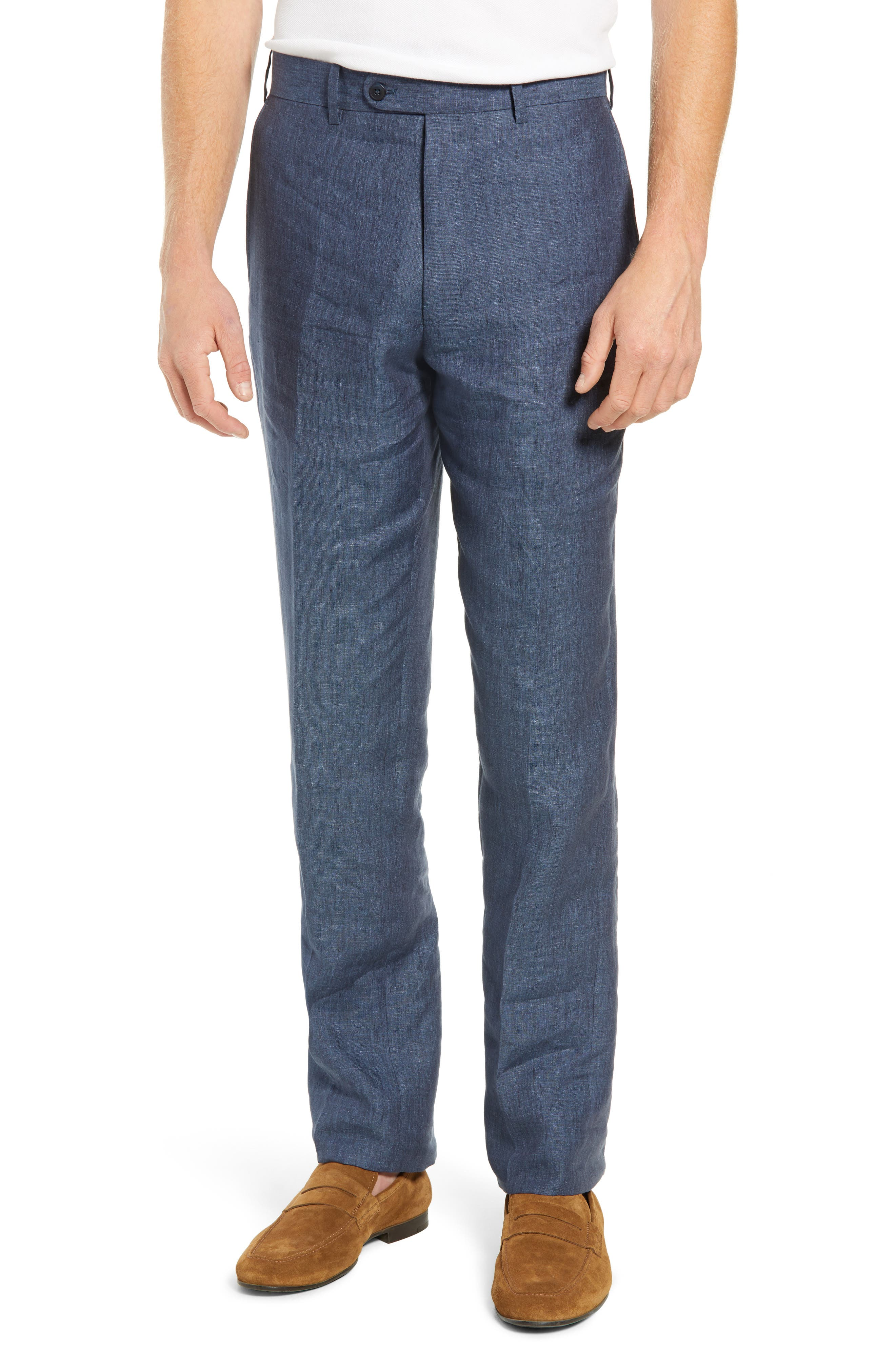 JOHN W. NORDSTROM<SUP>®</SUP>, Torino Flat Front Solid Linen Trousers, Main thumbnail 1, color, 420