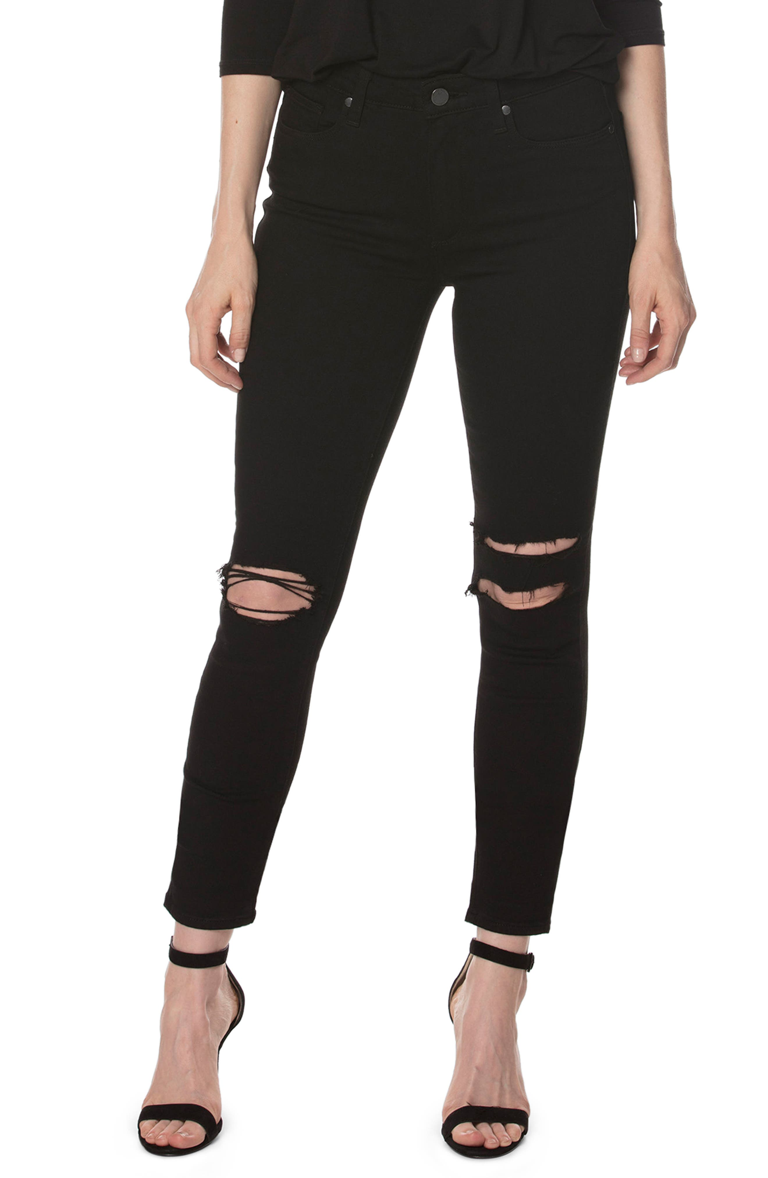 PAIGE, Transcend - Hoxton Skinny Ankle Jeans, Main thumbnail 1, color, 001
