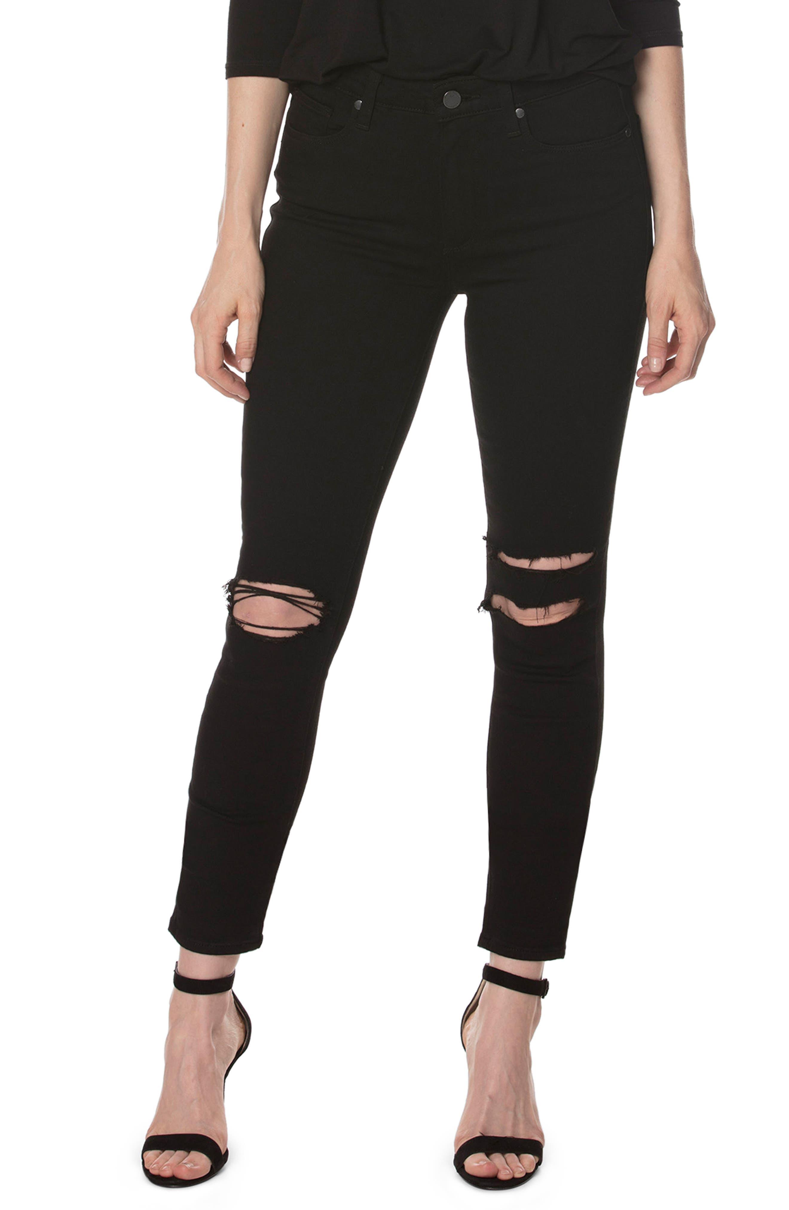 PAIGE Transcend - Hoxton Skinny Ankle Jeans, Main, color, 001