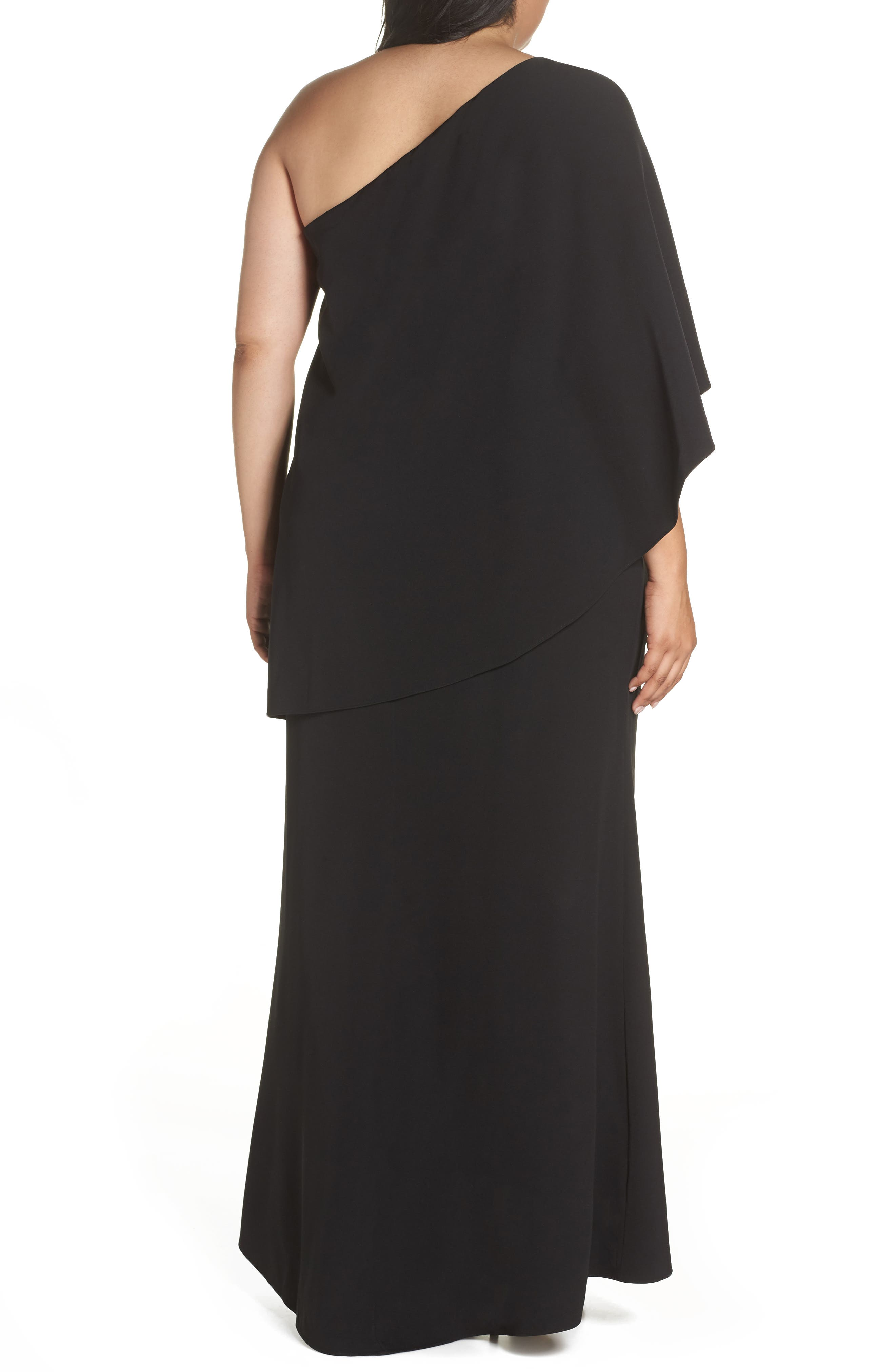 VINCE CAMUTO, One-Shoulder Cape Gown, Alternate thumbnail 2, color, BLACK