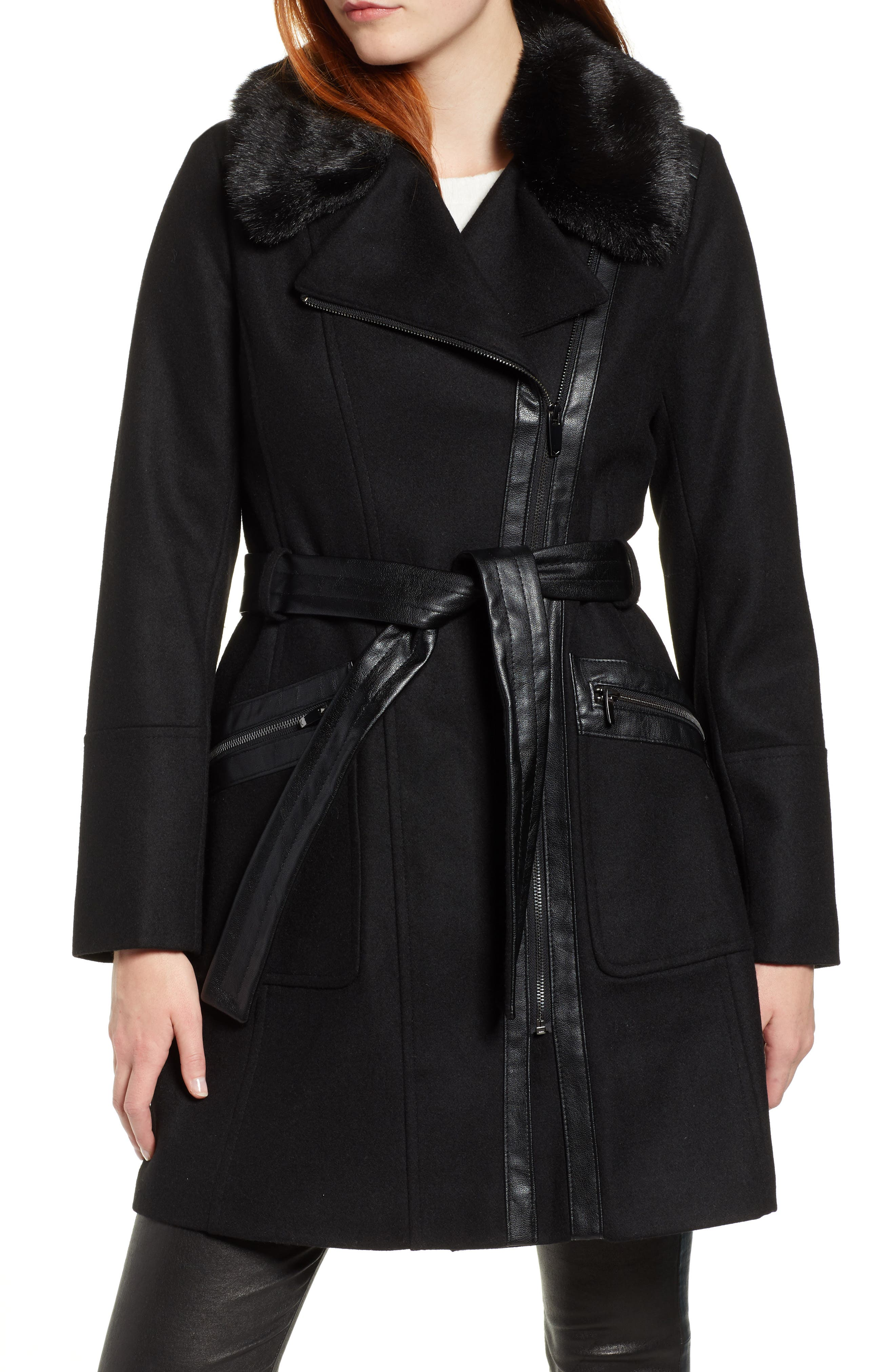 VIA SPIGA, Faux Fur Trim Belted Jacket, Main thumbnail 1, color, BLACK
