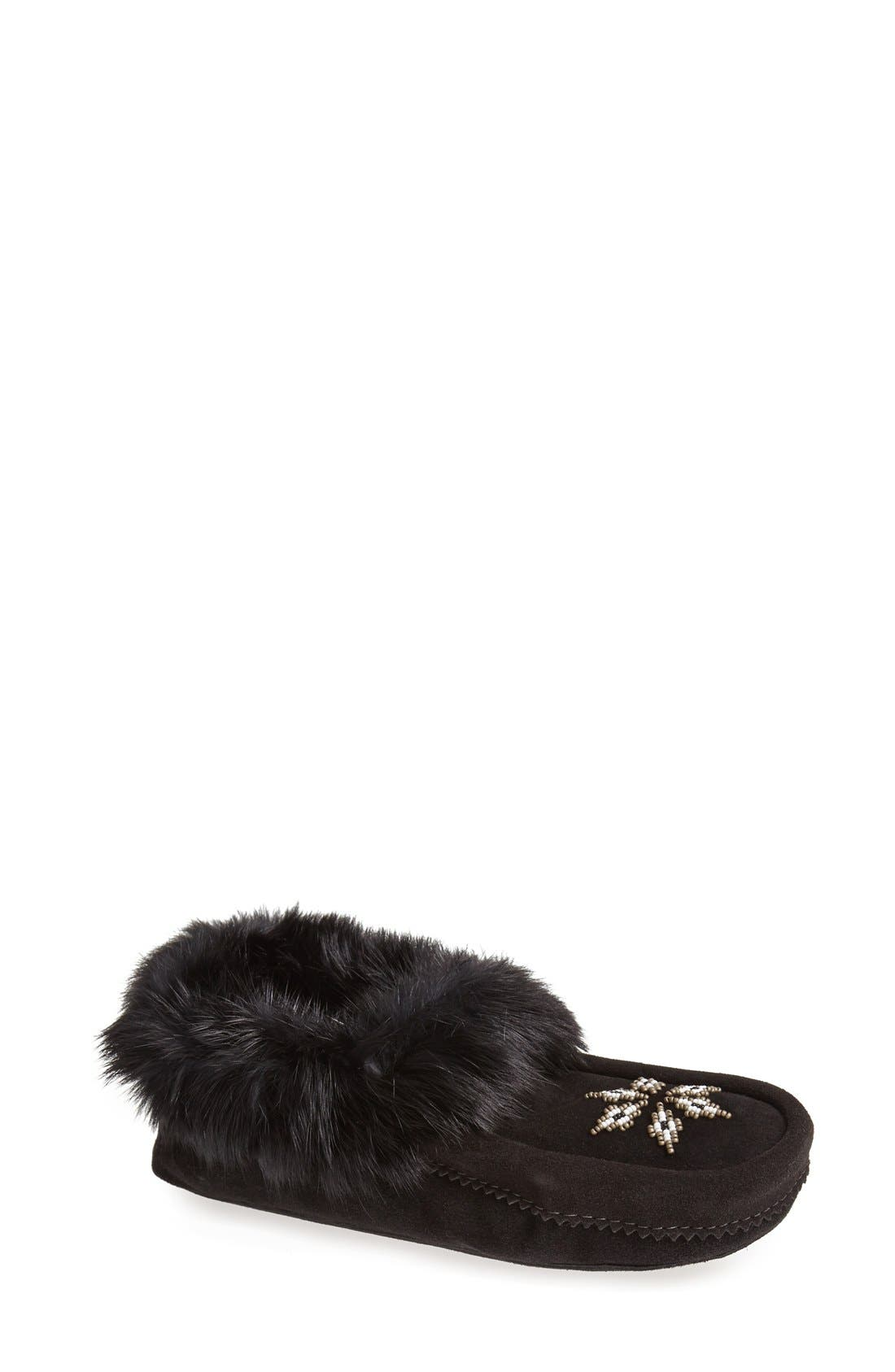 MANITOBAH MUKLUKS 'Kanada' Genuine Rabbit Fur & Suede Moccasin Slipper, Main, color, 001