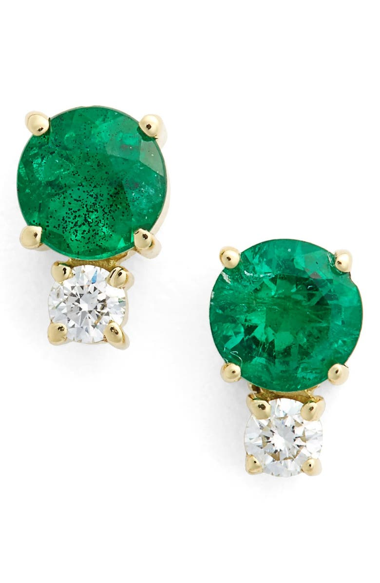 Jemma Wynne Emerald Diamond Stud Earrings Main Color