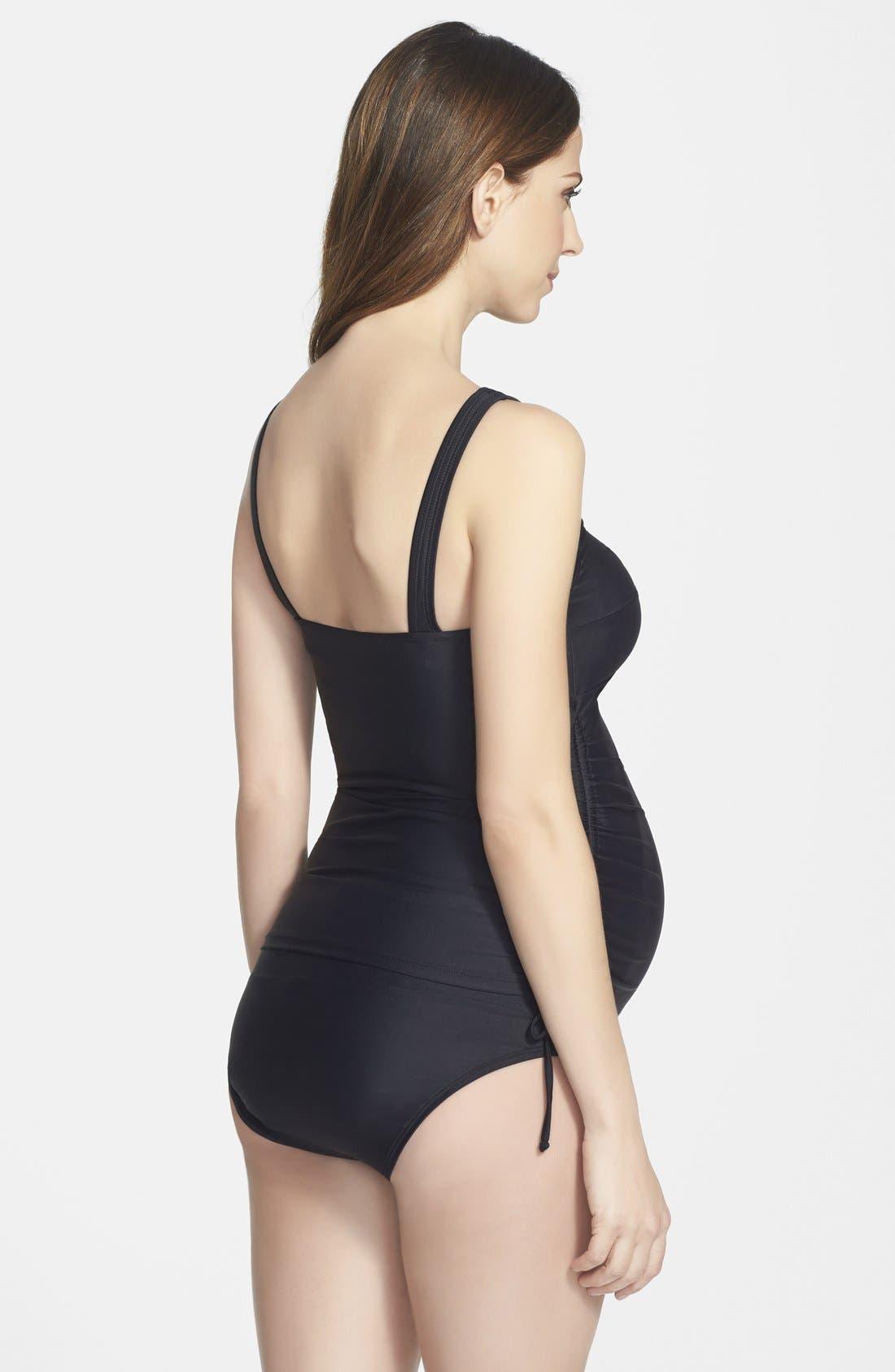 MATERNAL AMERICA, Ruched Maternity Tankini Swimsuit, Alternate thumbnail 8, color, BLACK