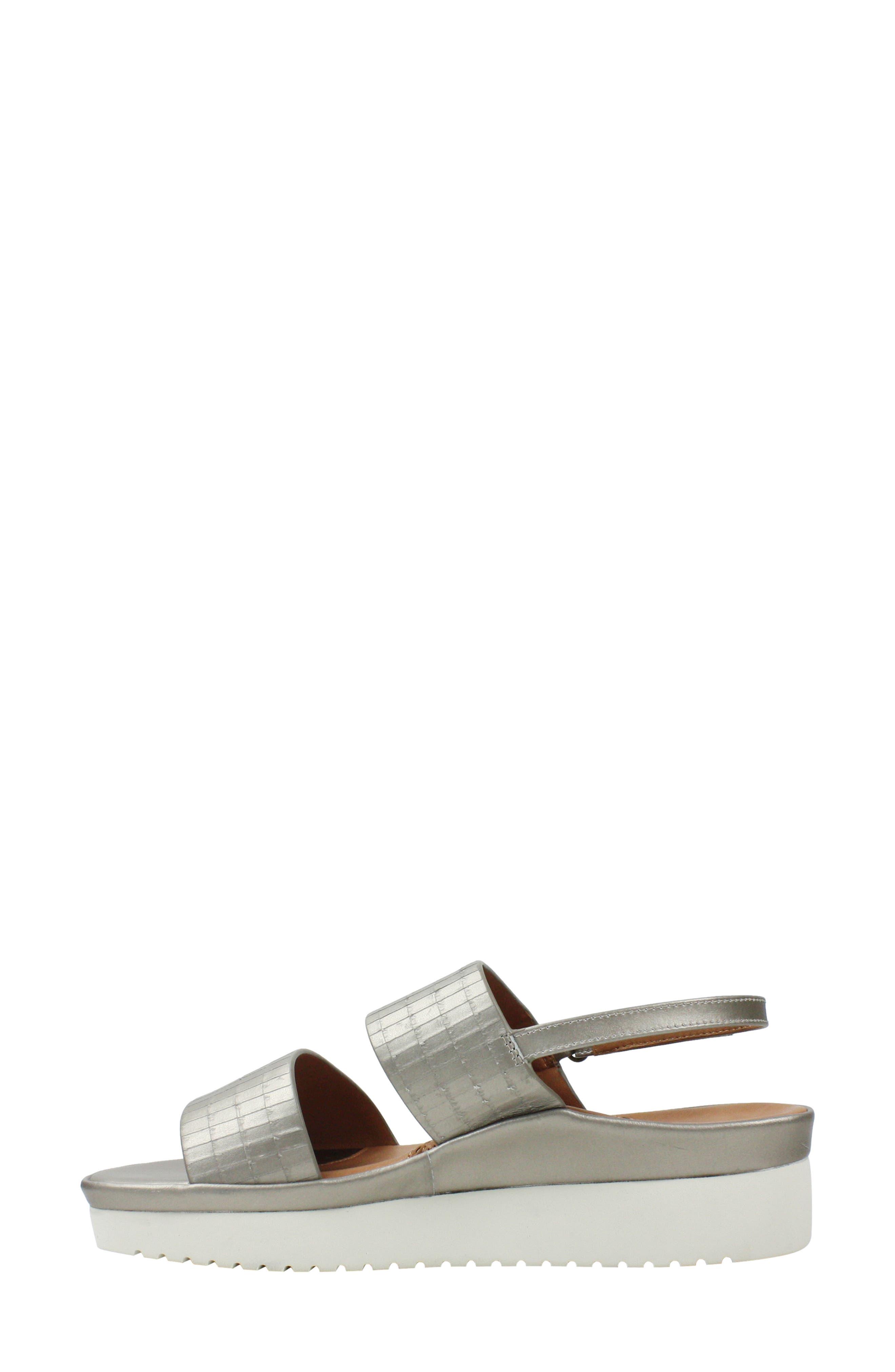 L'AMOUR DES PIEDS, Abruzzo Slingback Platform Wedge Sandal, Alternate thumbnail 6, color, PEARLIZED PLATINUM LEATHER