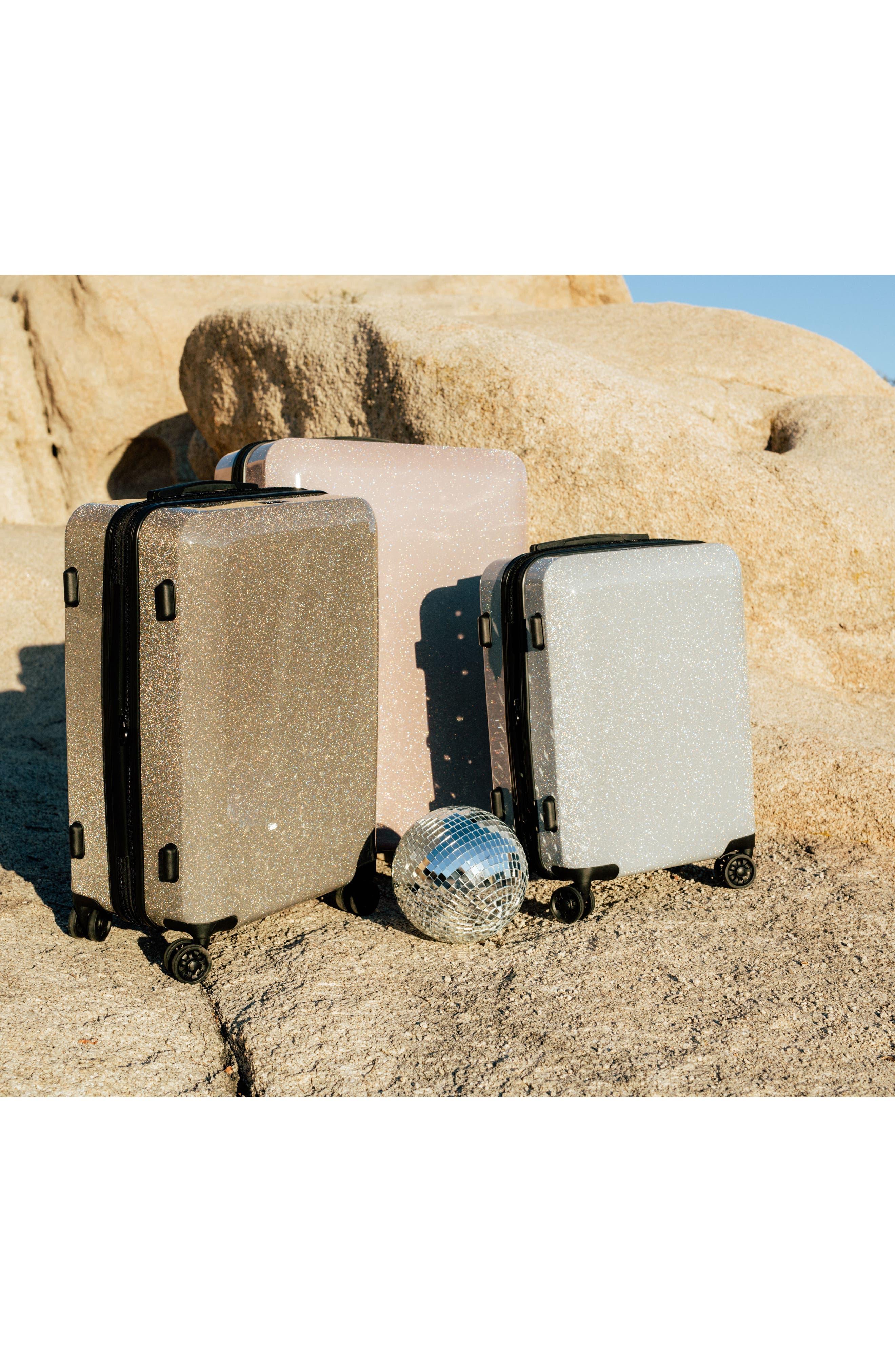 CALPAK, Medora Glitter 20-Inch Hardshell Spinner Carry-On Suitcase, Alternate thumbnail 6, color, ECLIPSE