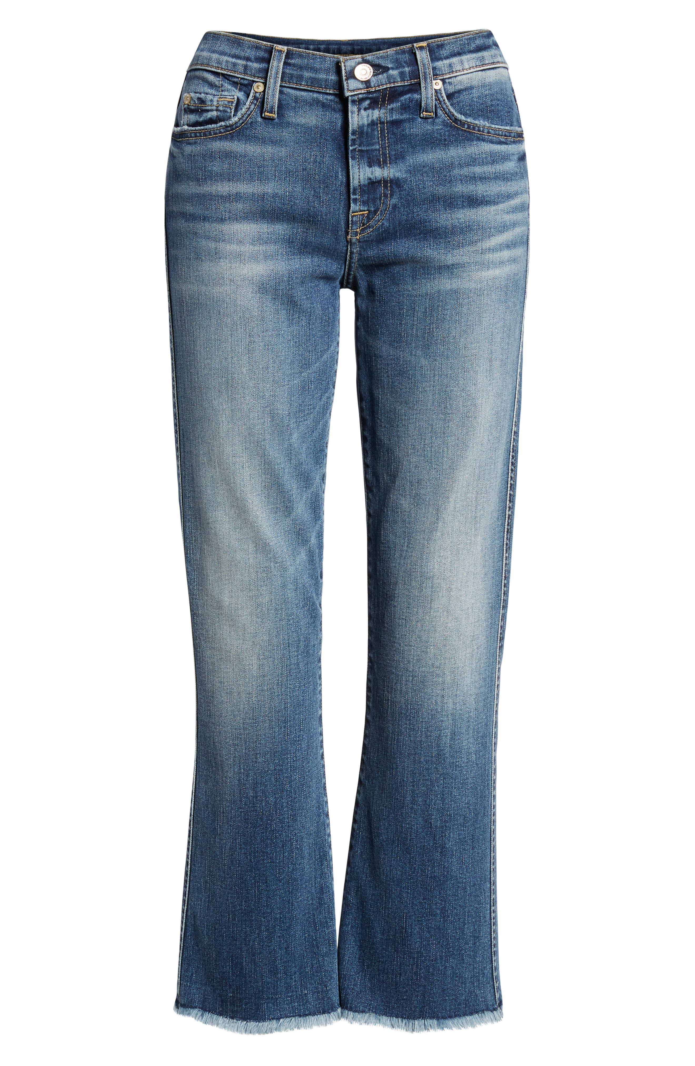7 FOR ALL MANKIND<SUP>®</SUP>, High Waist Fray Crop Bootcut Jeans, Alternate thumbnail 7, color, 400