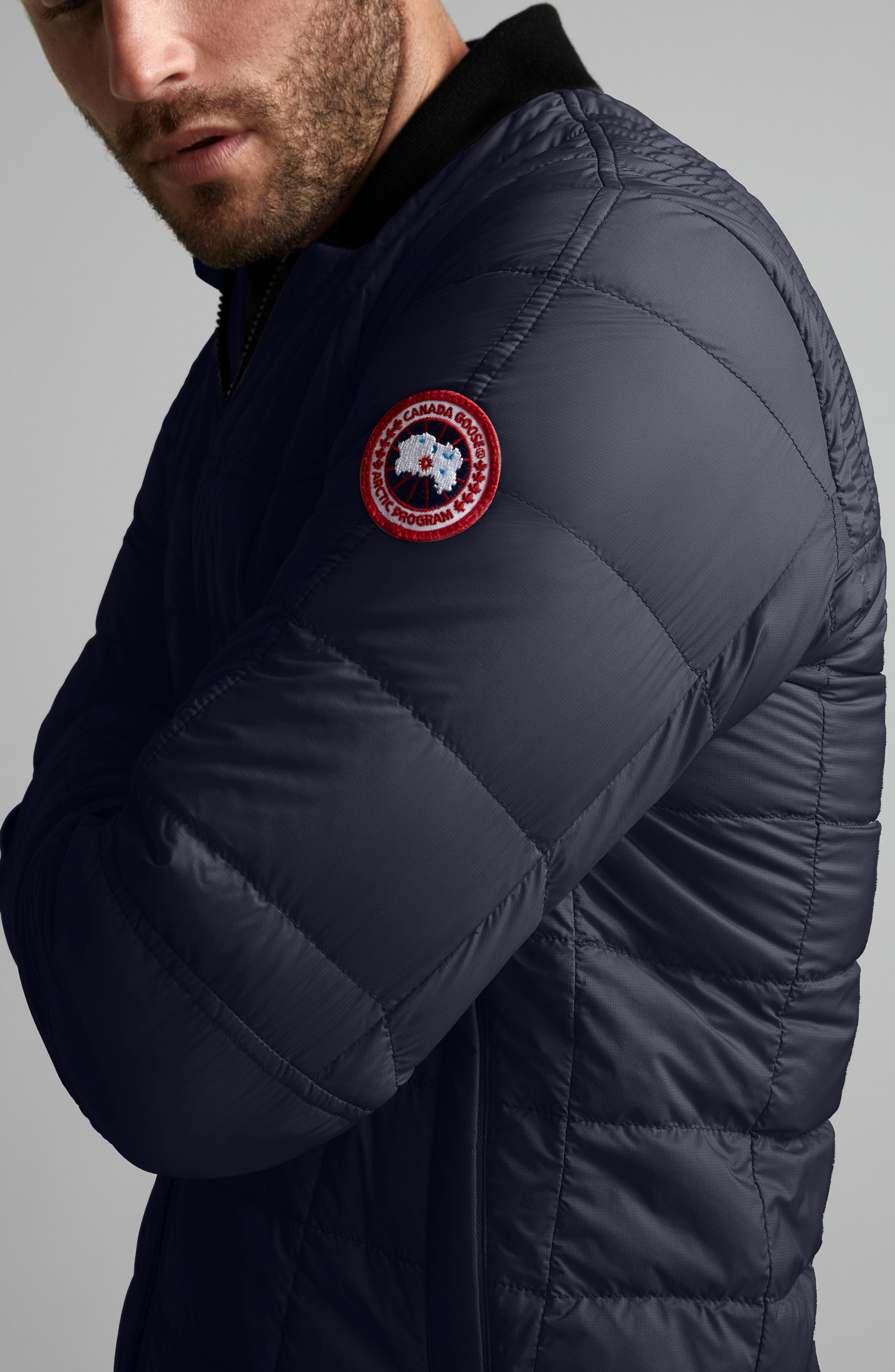 CANADA GOOSE, Dunham Slim Fit Packable Down Jacket, Alternate thumbnail 2, color, NAVY