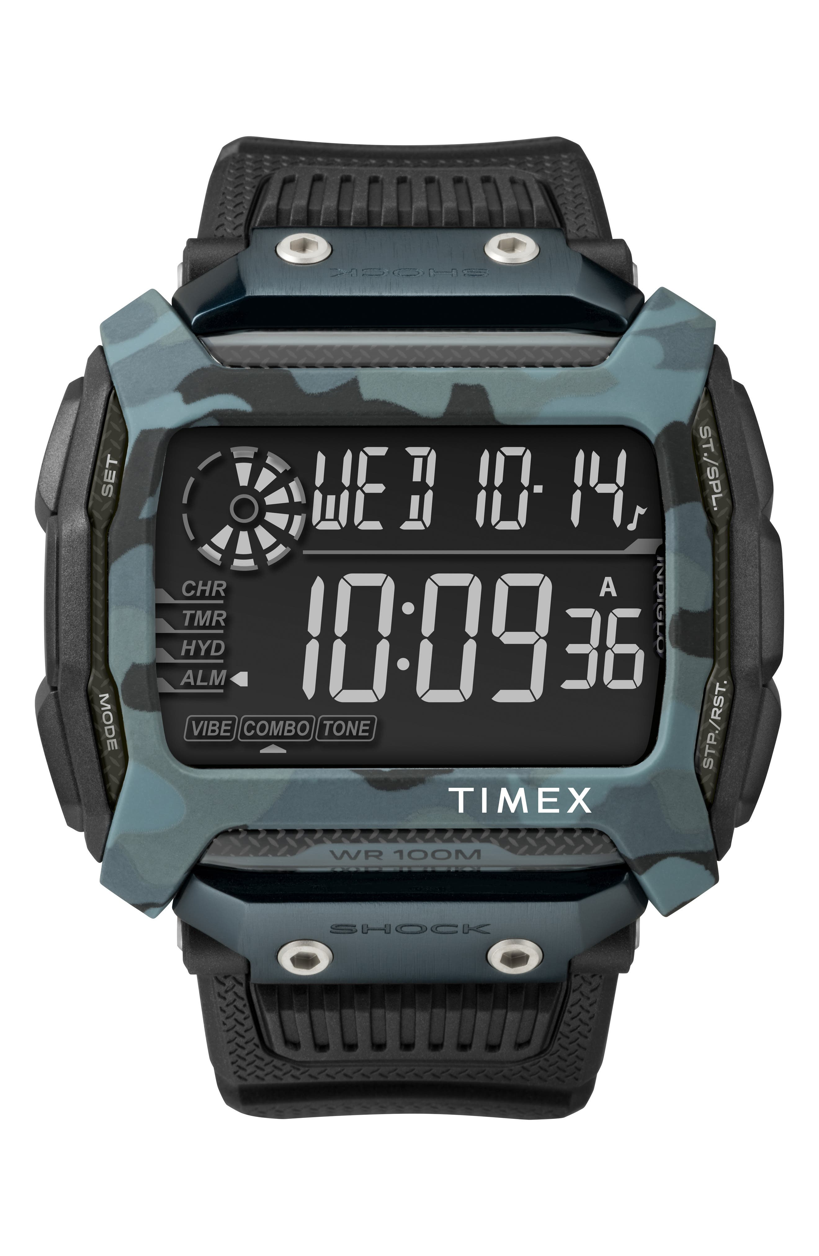 TIMEX<SUP>®</SUP> Timex Command<sup>™</sup> Shock Digital Silicone Strap Watch, 54mm, Main, color, BROWN