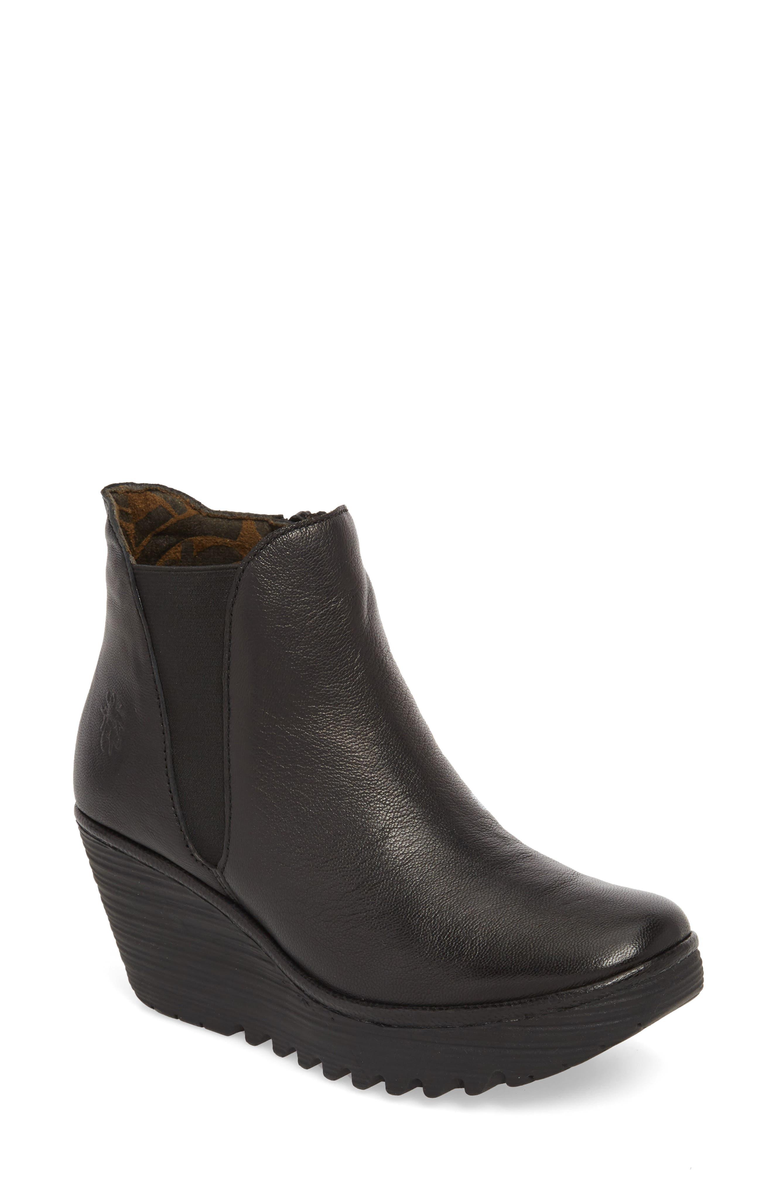 FLY LONDON Yozo Wedge Boot, Main, color, BLACK