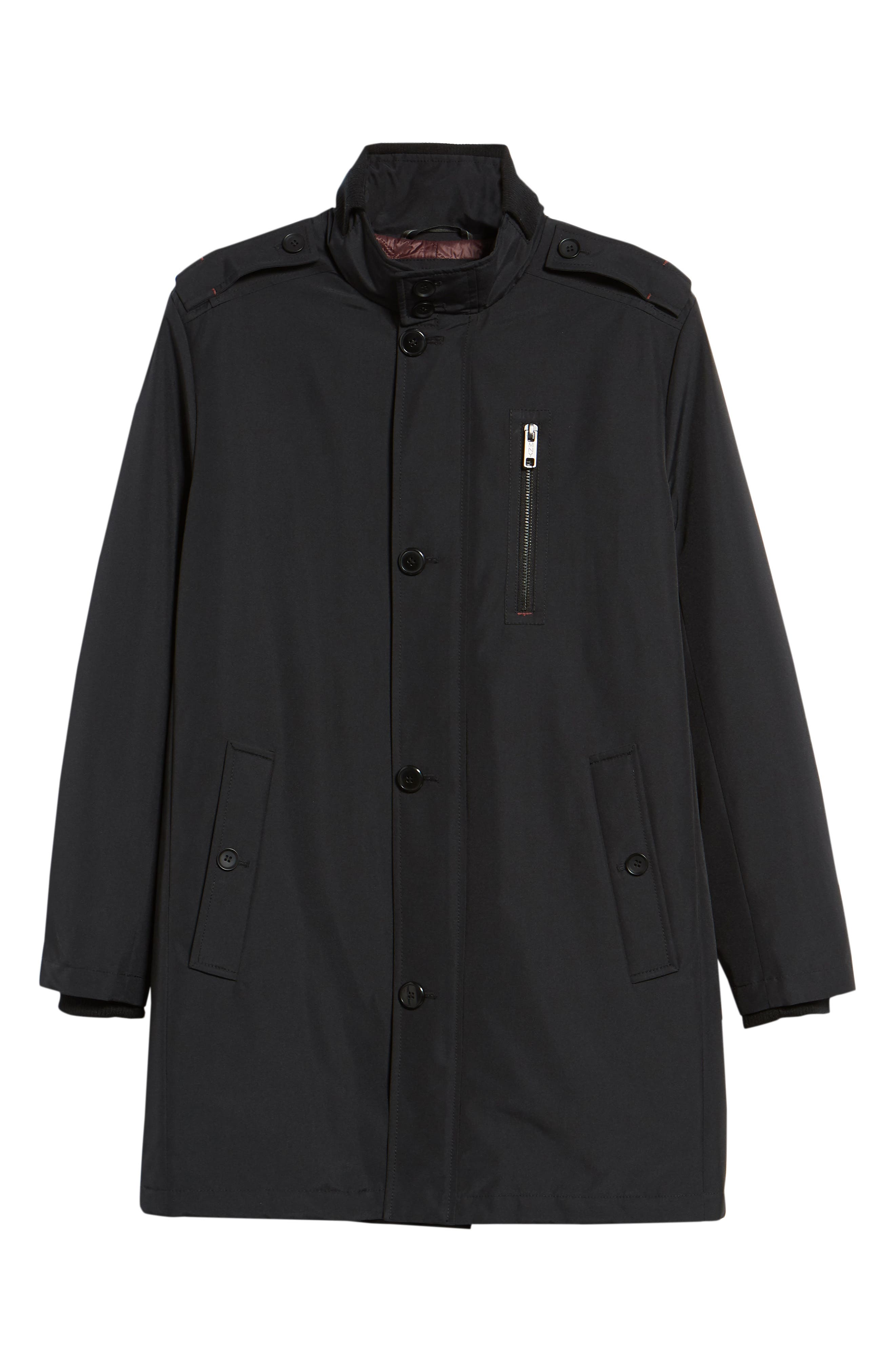 MARC NEW YORK, Cullen Oxford Car Coat, Alternate thumbnail 5, color, BLACK