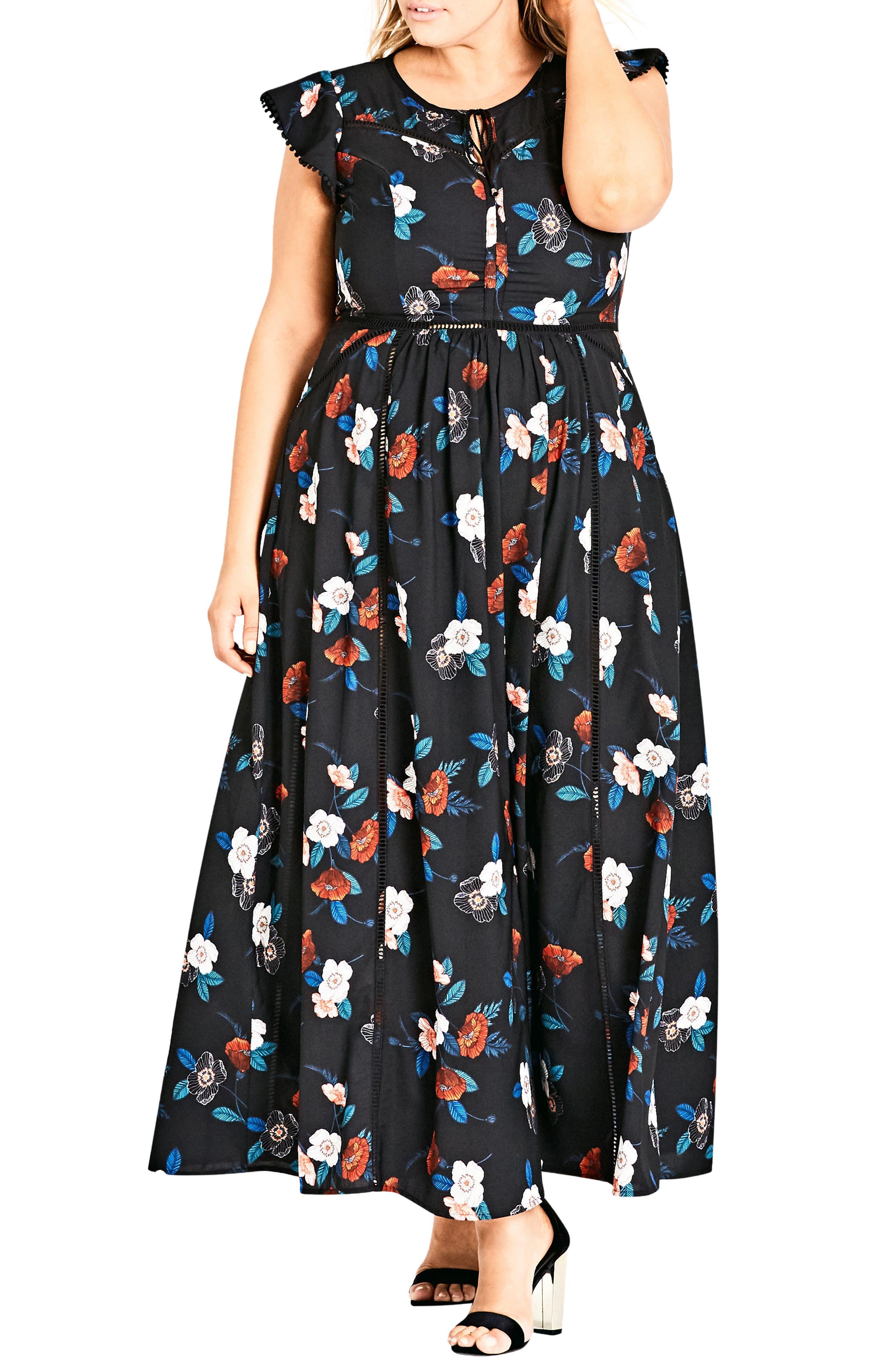 CITY CHIC, Spring Garden Maxi Dress, Main thumbnail 1, color, SPRING GARDEN