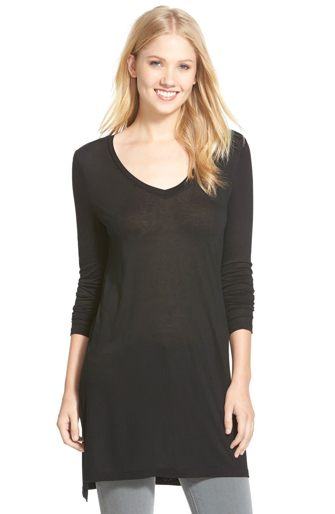 HALOGEN<SUP>®</SUP> Long Sleeve Lightweight Tunic, Main, color, 001