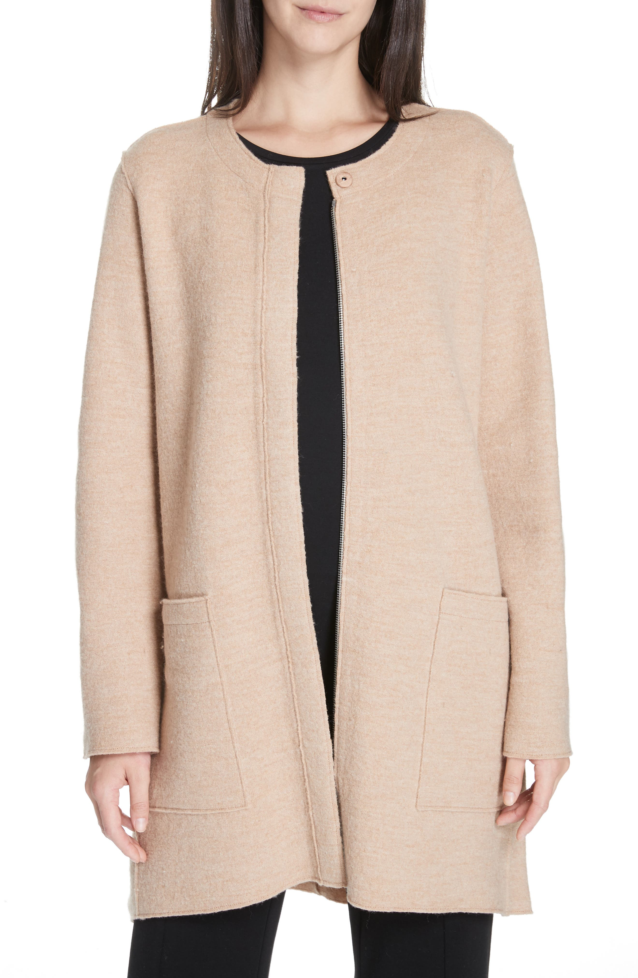 EILEEN FISHER, Zip Wool Jacket, Main thumbnail 1, color, 200