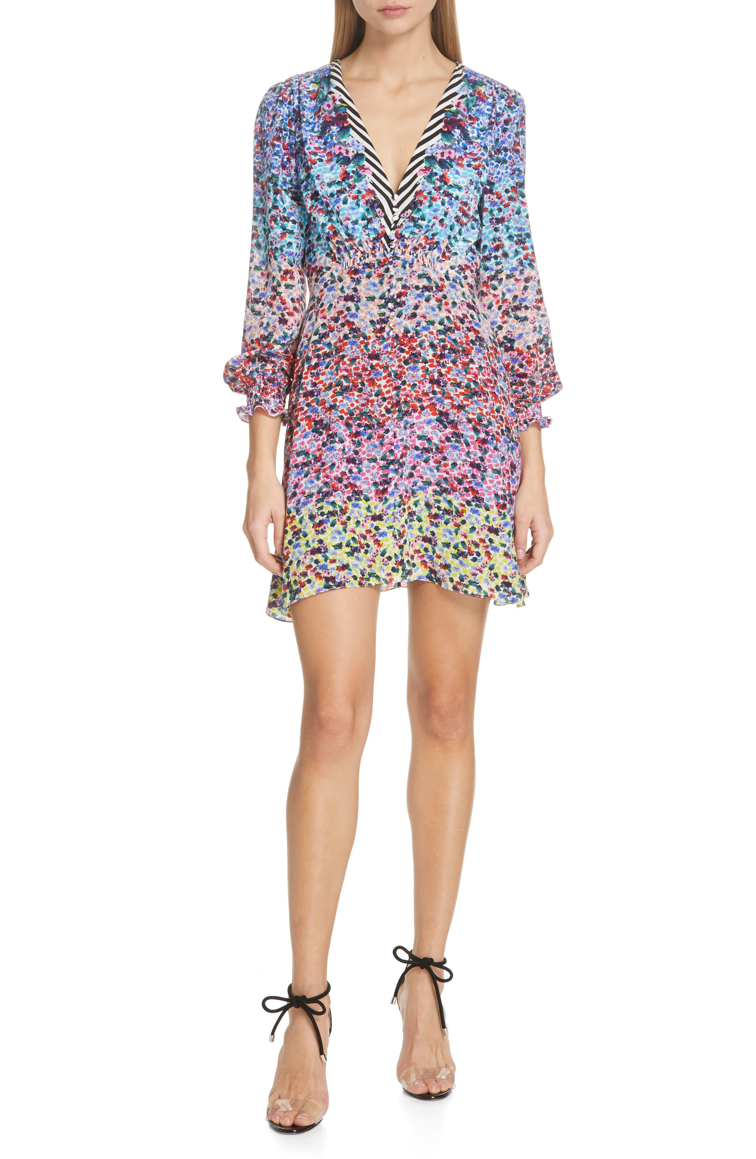 SALONI Eve Floral Print Dress, Main, color, RAINBOW GARDENIA PLMT