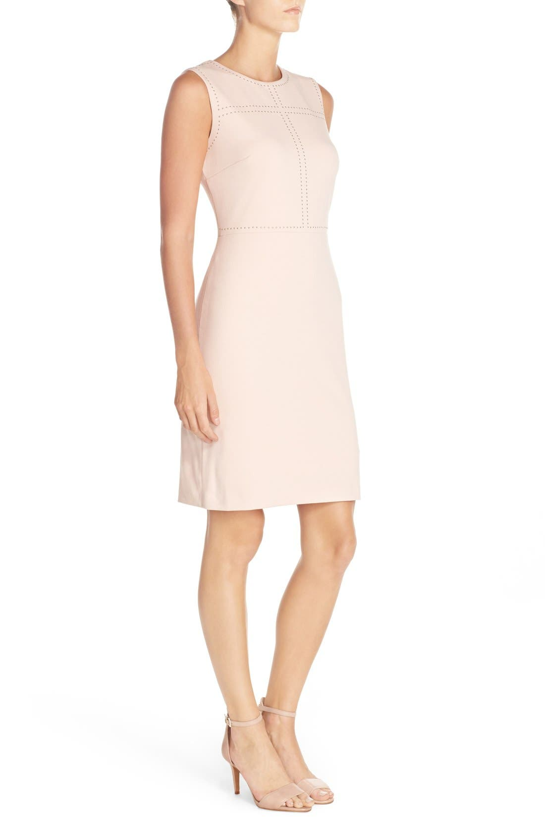 IVANKA TRUMP, Sleeveless Sheath Dress, Alternate thumbnail 5, color, 650