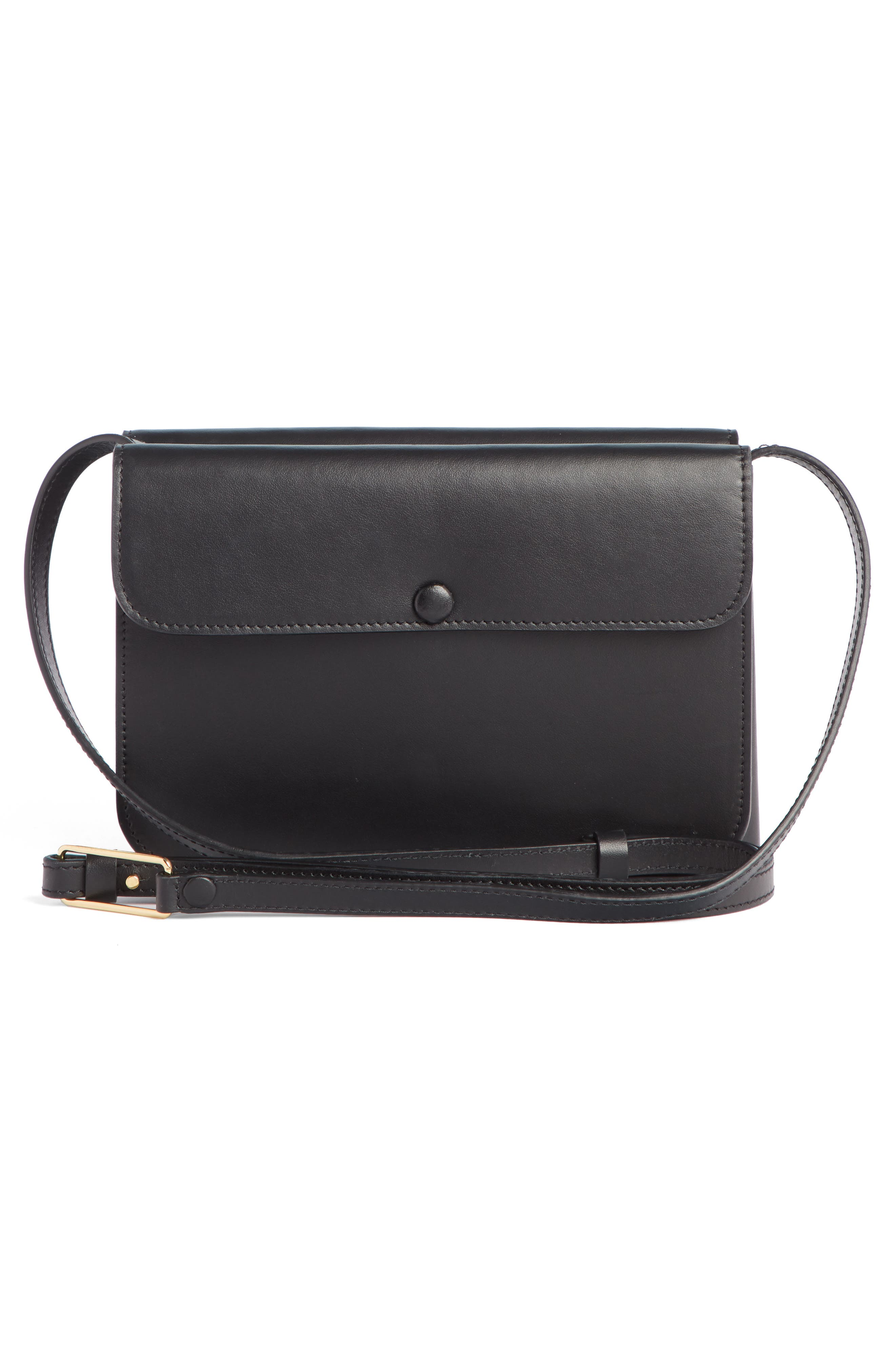 VICTORIA BECKHAM, Twin Leather Crossbody Bag, Alternate thumbnail 3, color, BLACK