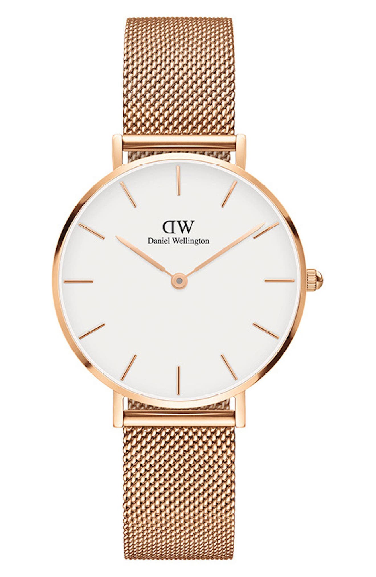 DANIEL WELLINGTON, Classic Petite Mesh Strap Watch, 32mm, Main thumbnail 1, color, ROSE GOLD/ WHITE/ ROSE GOLD
