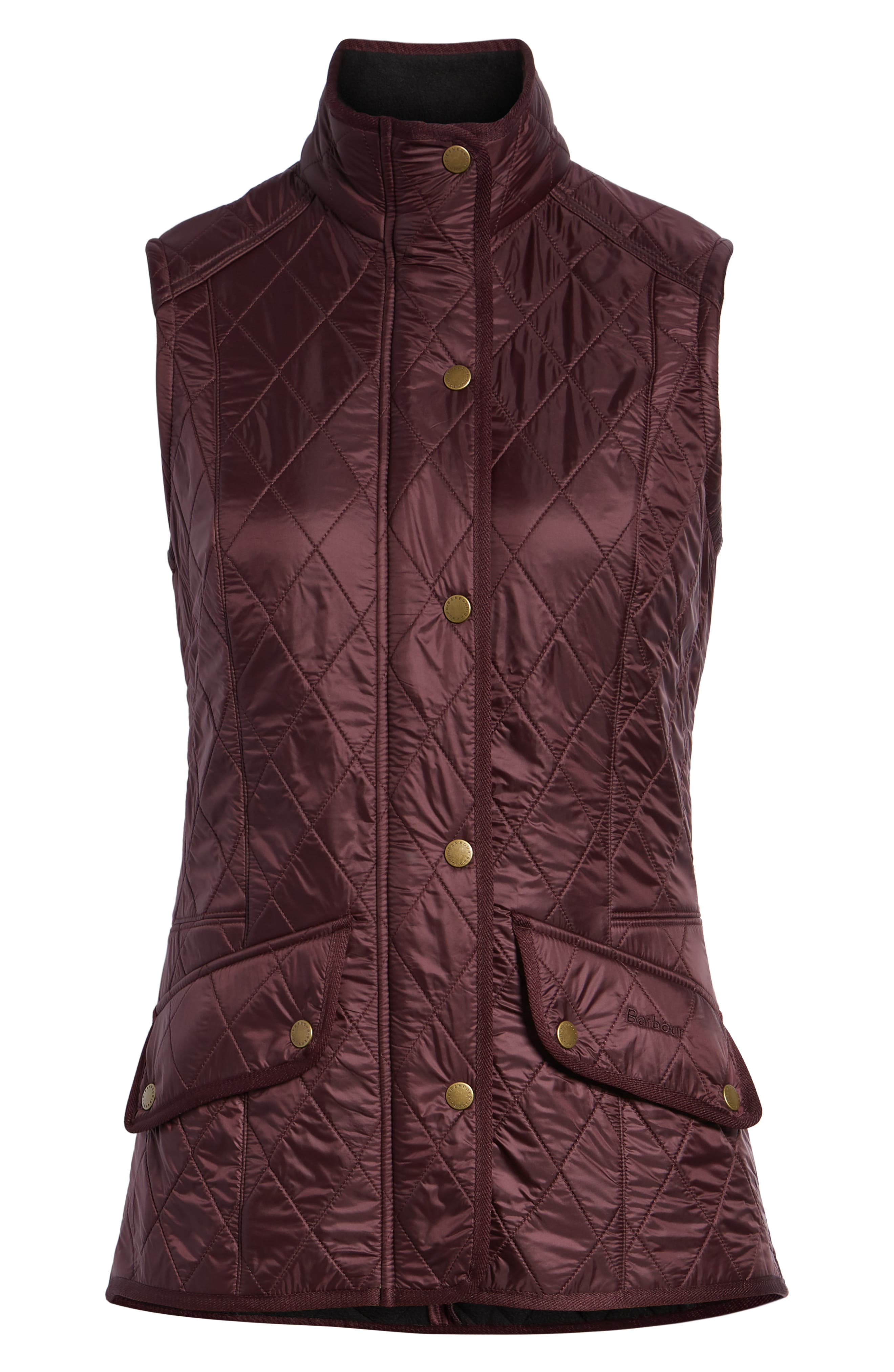 BARBOUR, 'Cavalry' Quilted Vest, Alternate thumbnail 6, color, AUBERGINE/ NAVY