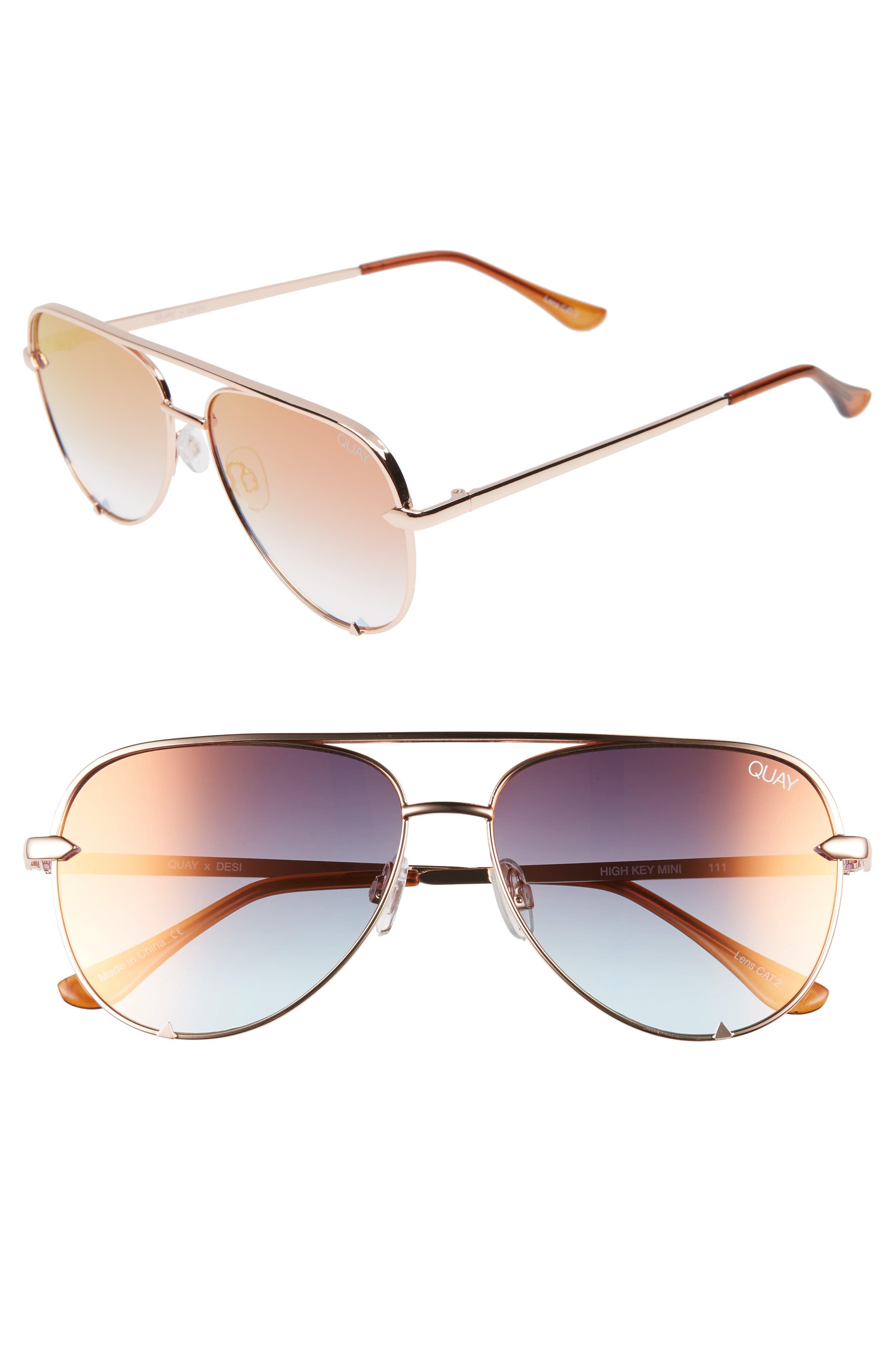 QUAY AUSTRALIA, x Desi Perkins High Key Mini 57mm Aviator Sunglasses, Main thumbnail 1, color, ROSE/ CPRFD