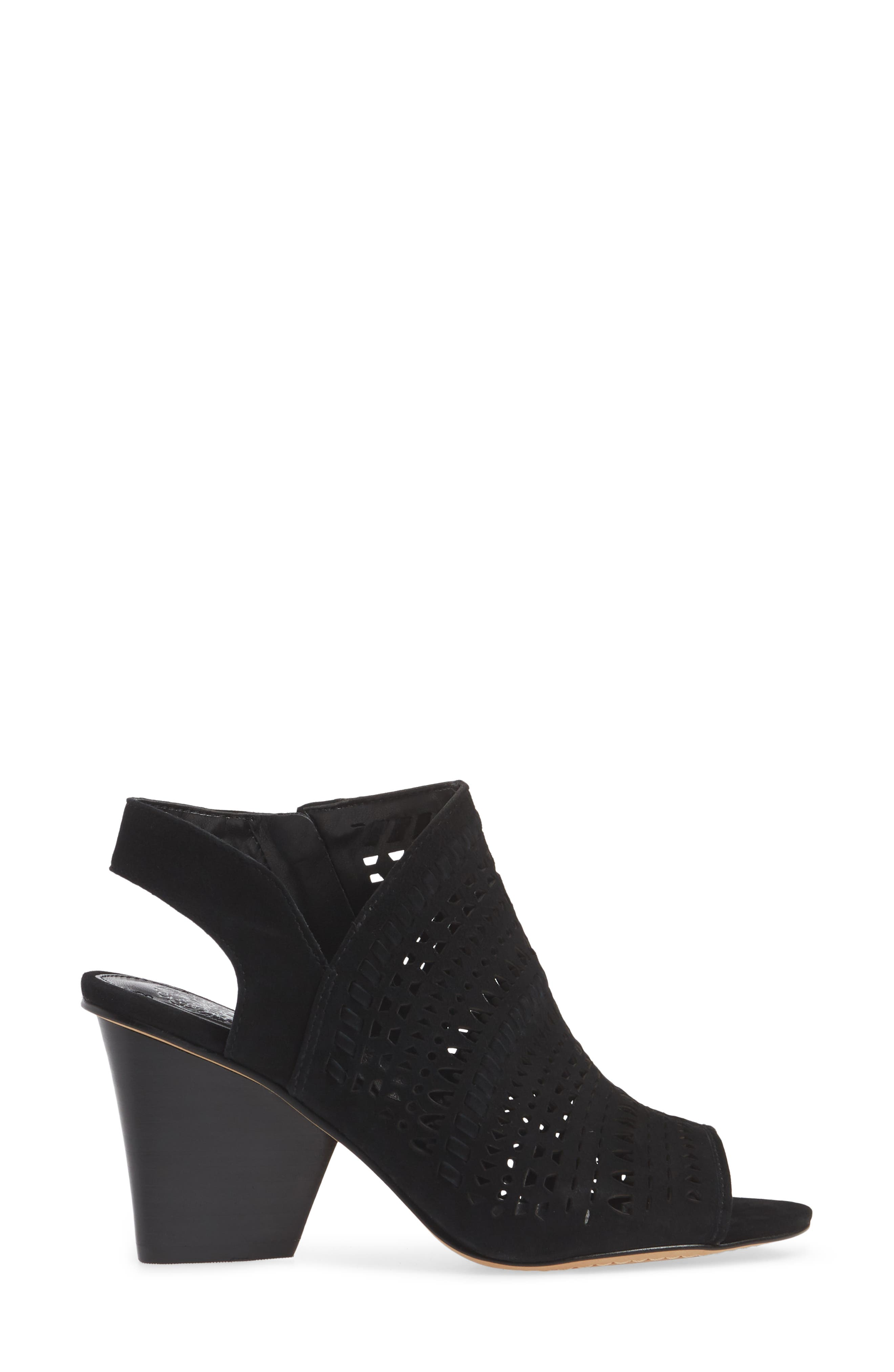 VINCE CAMUTO, Derechie Perforated Shield Sandal, Alternate thumbnail 3, color, BLACK SUEDE