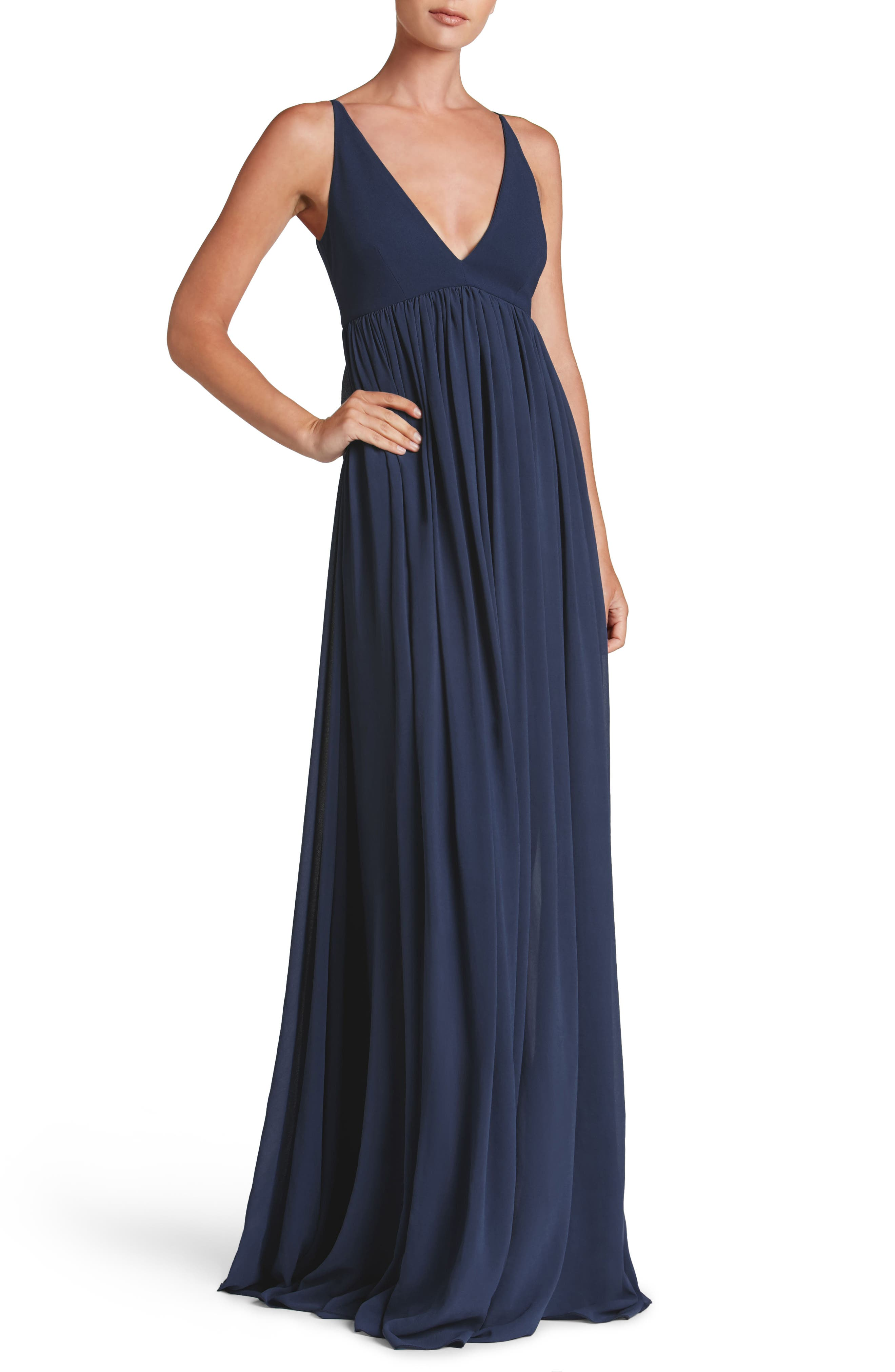 DRESS THE POPULATION, Phoebe Chiffon Gown, Main thumbnail 1, color, 456