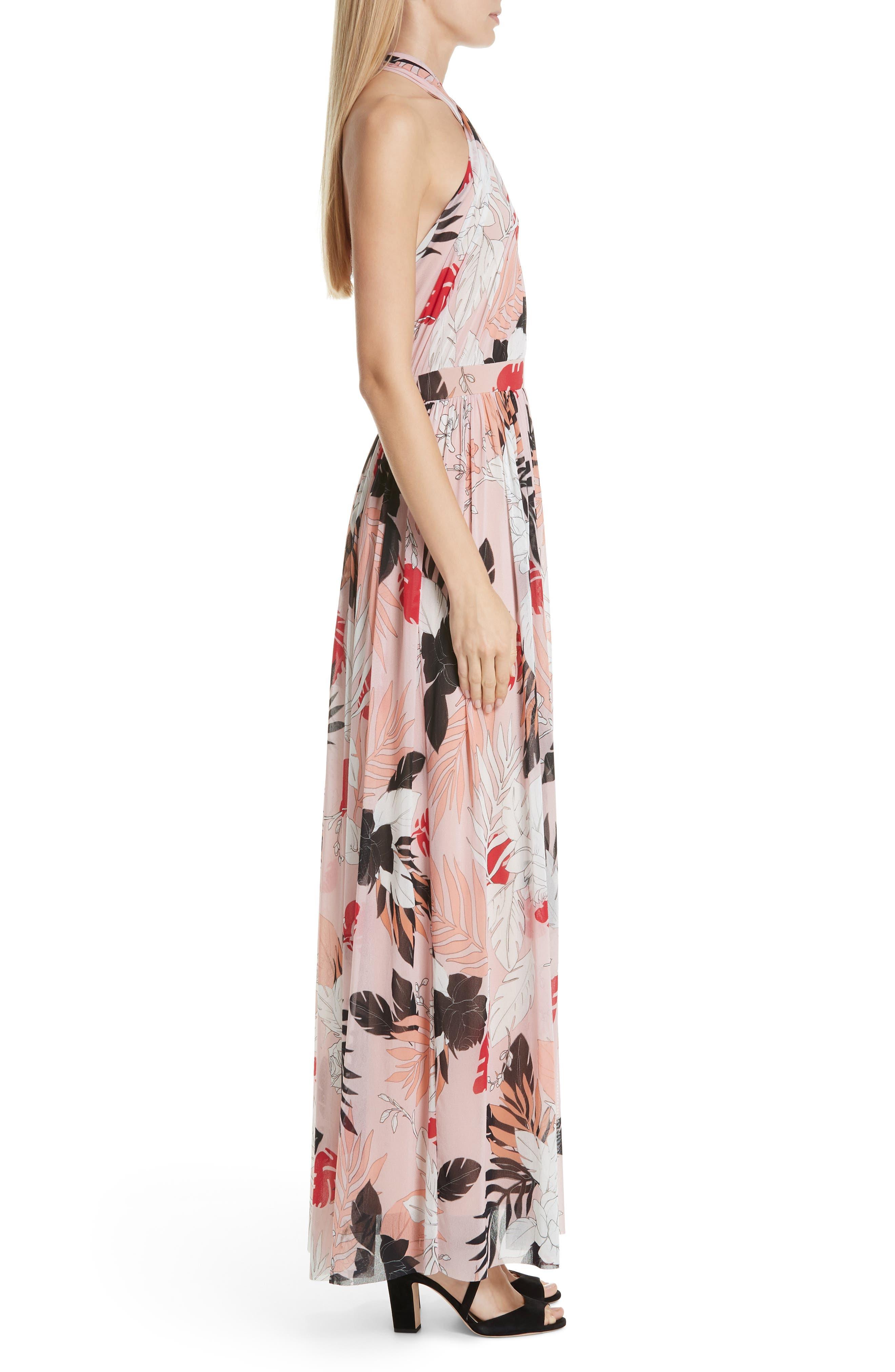 FUZZI, Floral Tulle Cross Halter Maxi Dress, Alternate thumbnail 4, color, ALBA