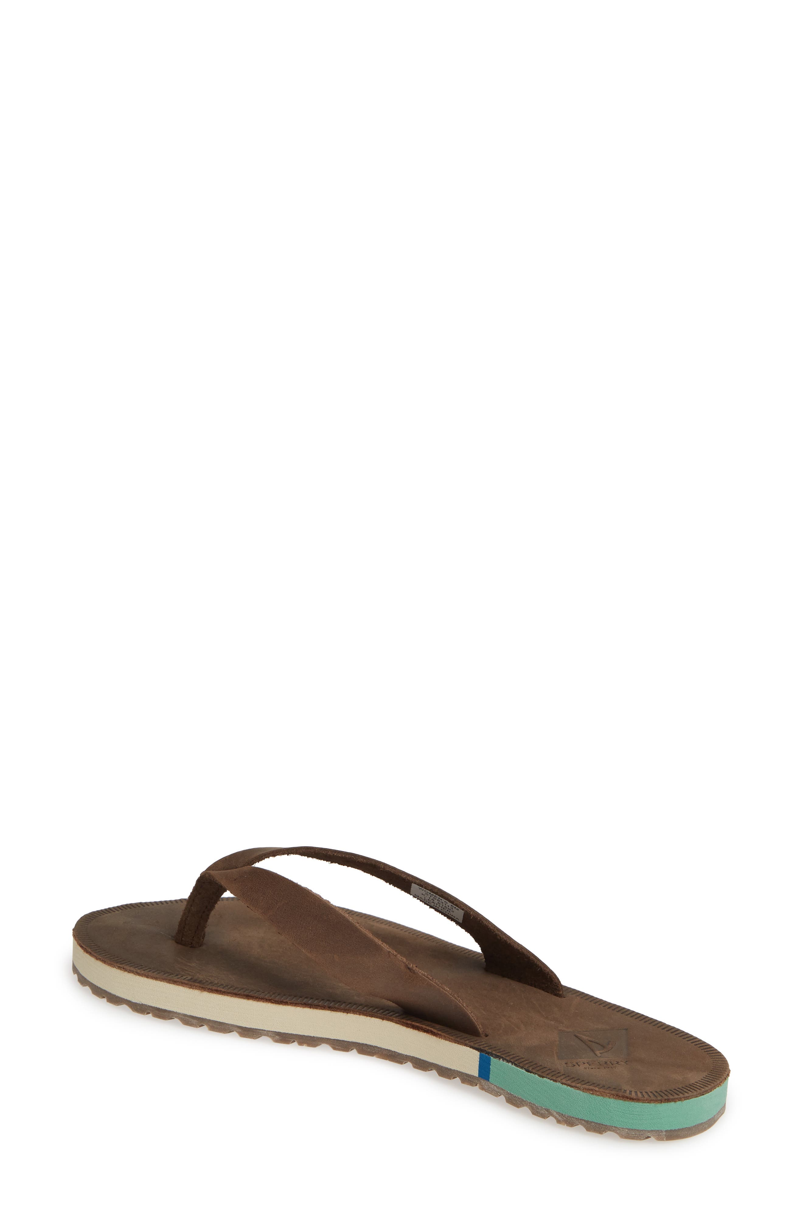 SPERRY, Wharf Flip Flop, Alternate thumbnail 2, color, CHOCOLATE LEATHER